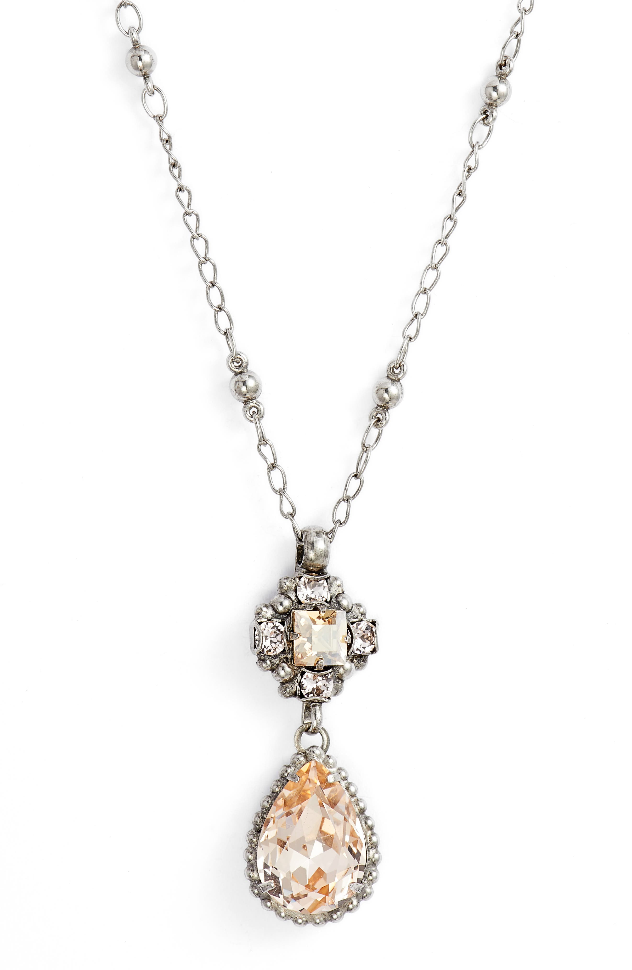 Posey Crystal Pendant Necklace,                             Main thumbnail 1, color,                             Pink