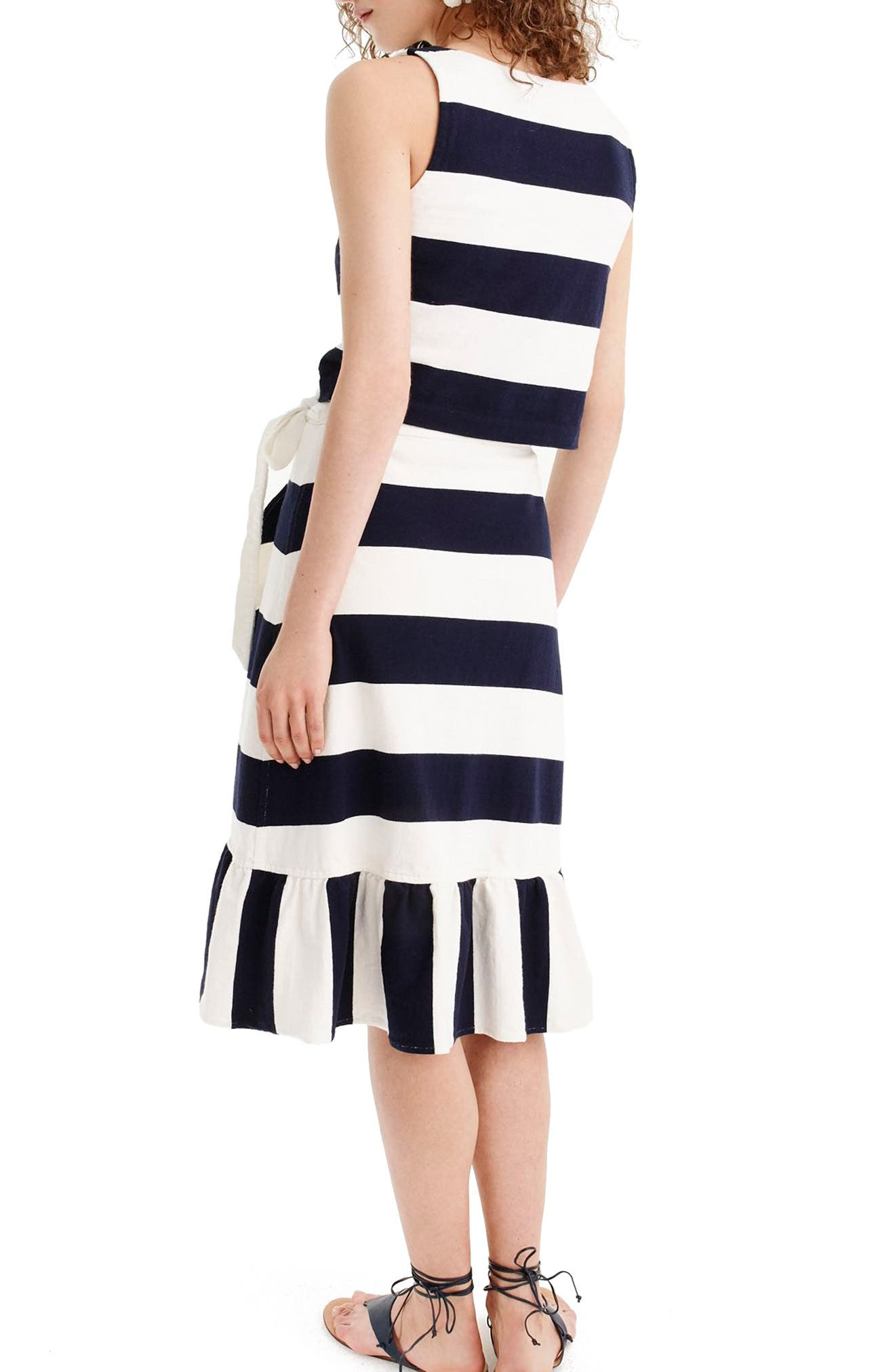 Rugby Knit Wrap Skirt,                             Alternate thumbnail 2, color,                             Navy Ivory
