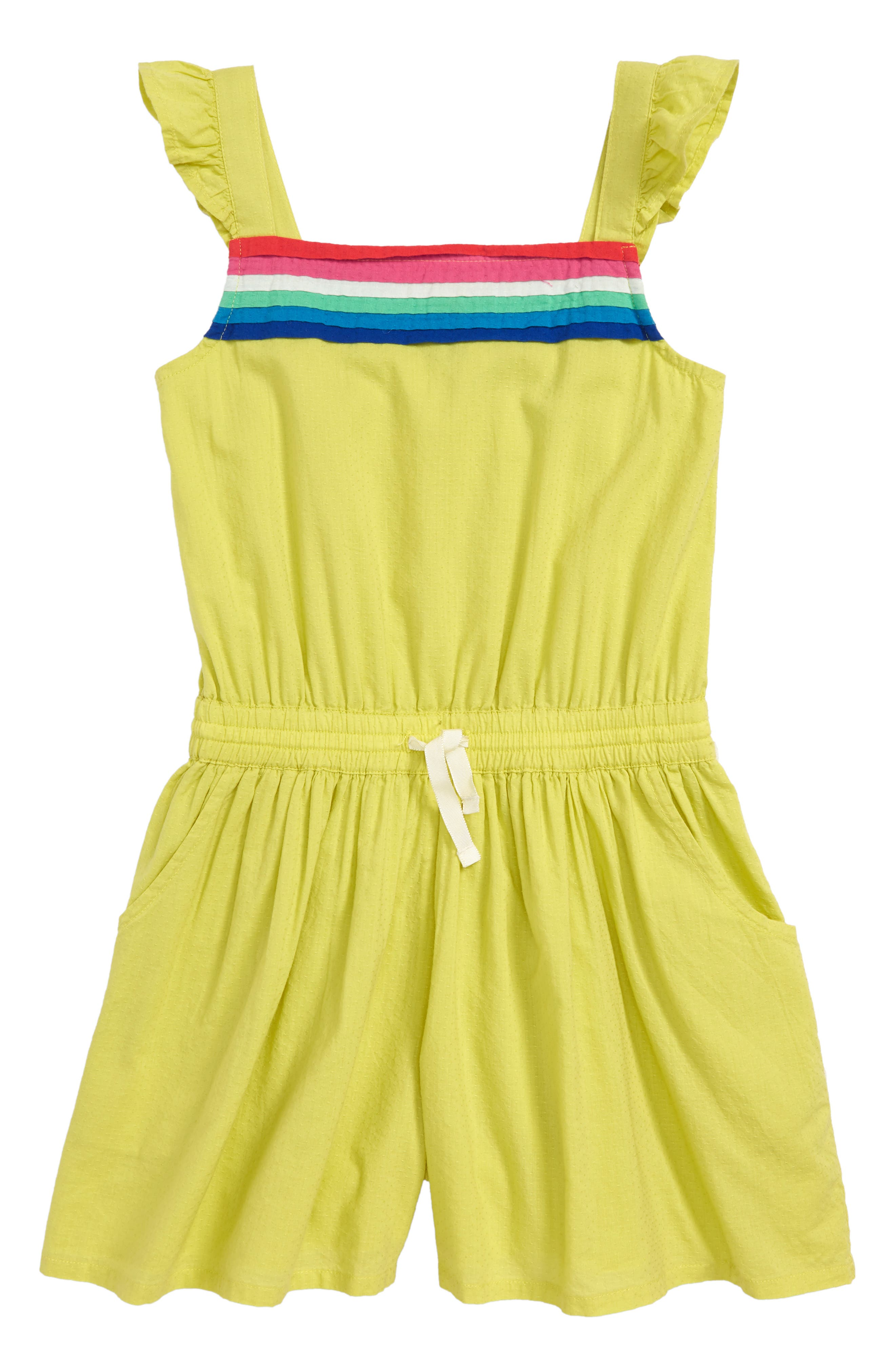 Strappy Woven Romper,                         Main,                         color, Yellow Zest