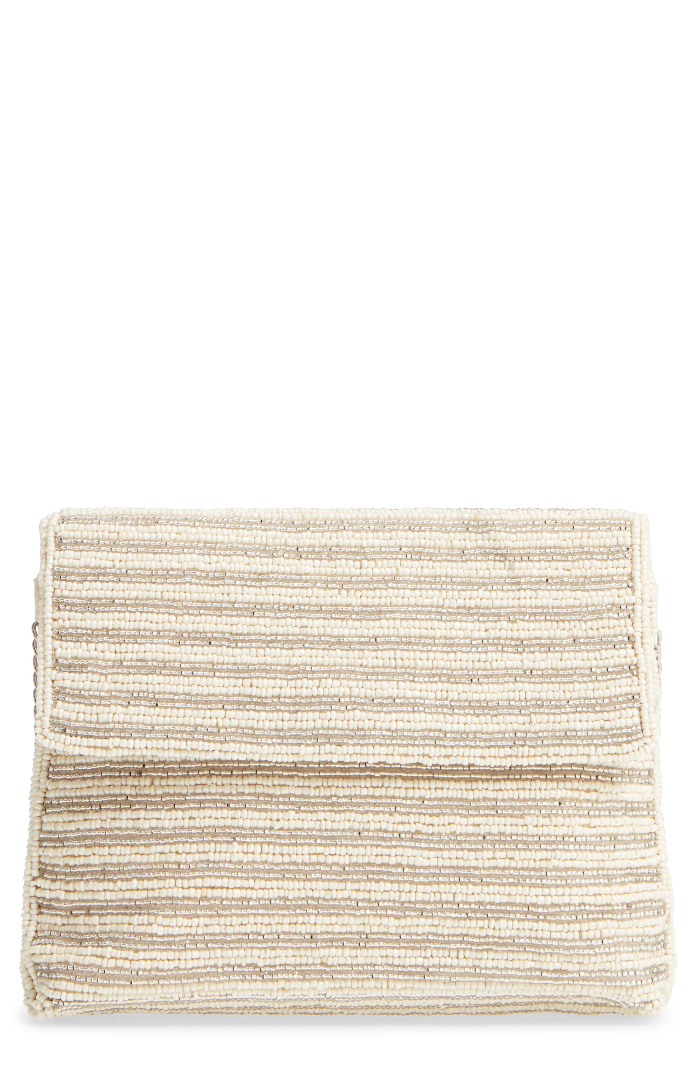 Beaded Clutch,                             Main thumbnail 1, color,                             Ivory Combo