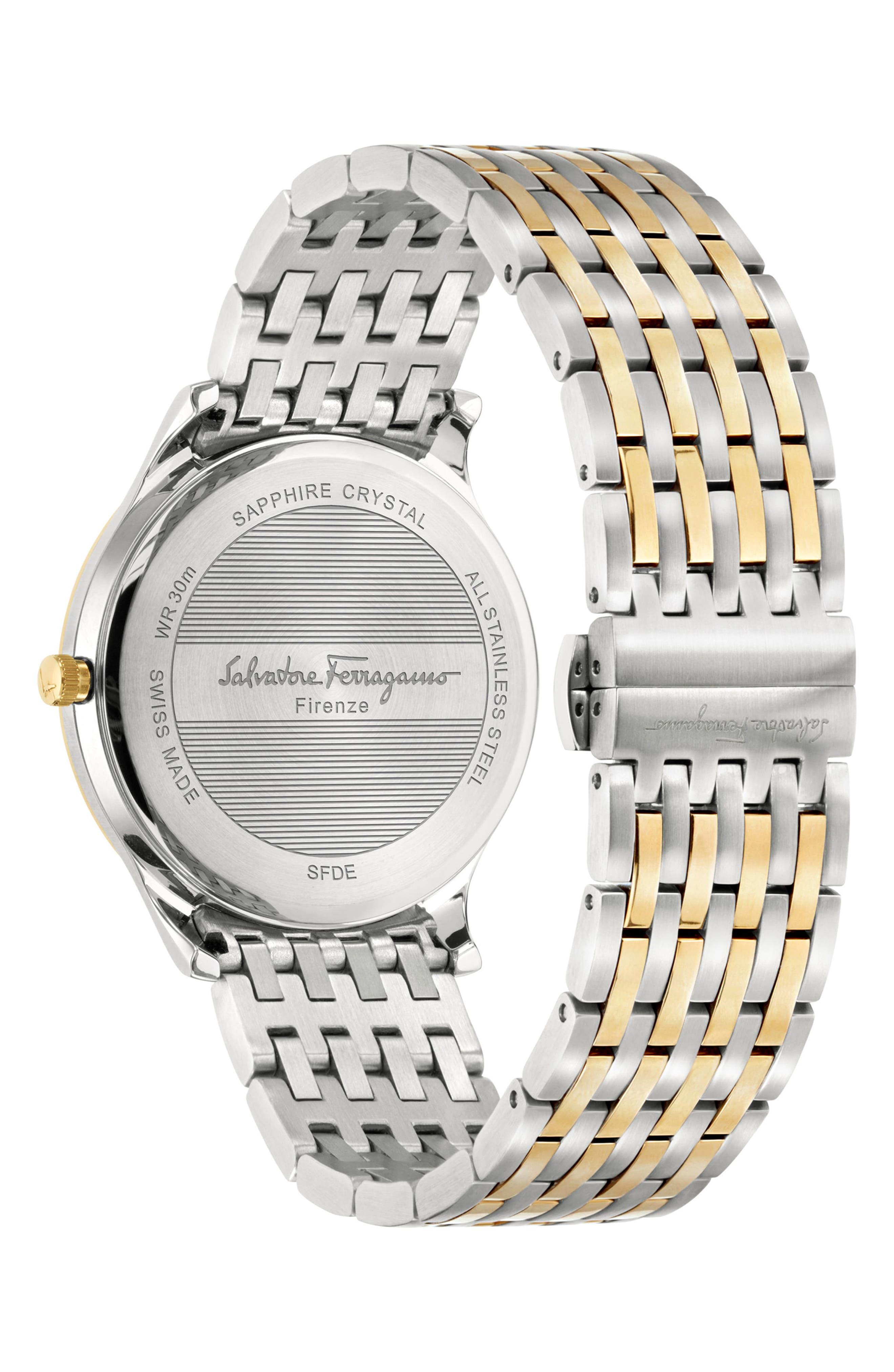Slim Formal Bracelet Watch, 40mm,                             Alternate thumbnail 2, color,                             Silver/ Gold