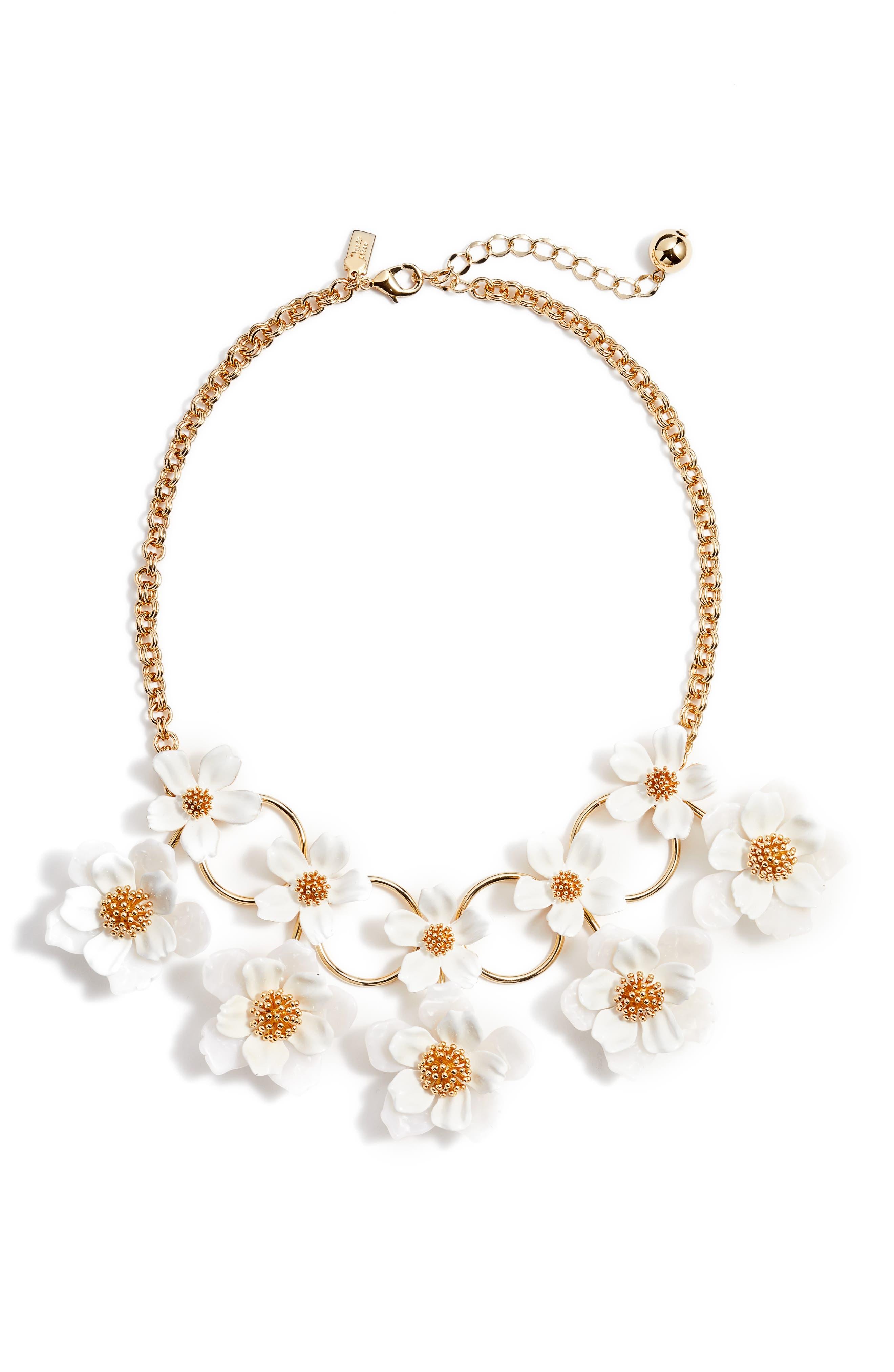 floral mosaic statement necklace,                         Main,                         color, White Multi