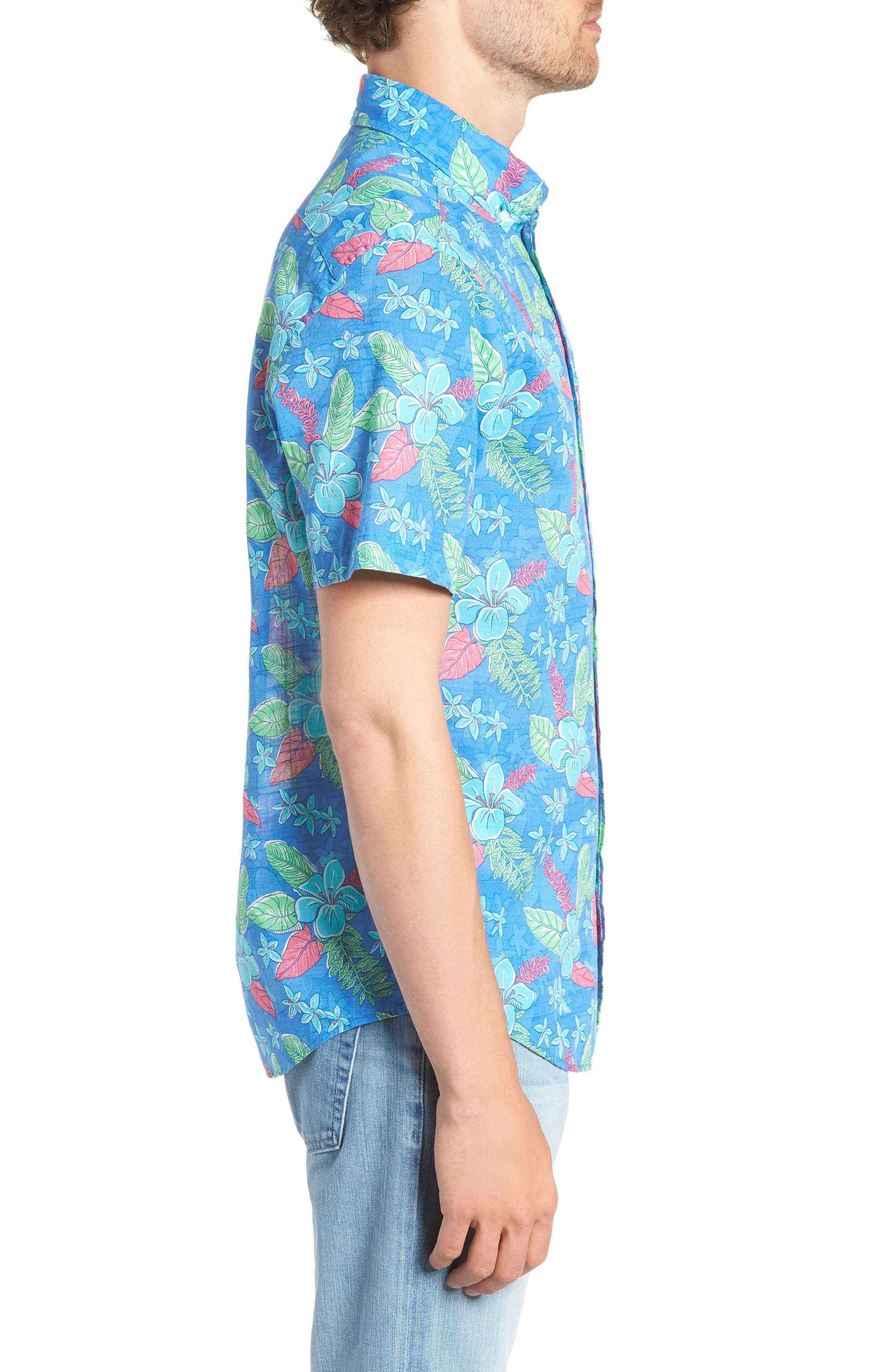 Cay Tucker Classic Fit Floral Sport Shirt,                             Alternate thumbnail 4, color,                             Hull Blue