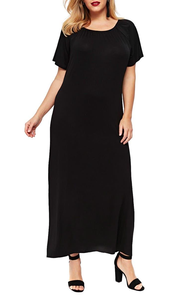 Pleat Neck Knit Maxi Dress
