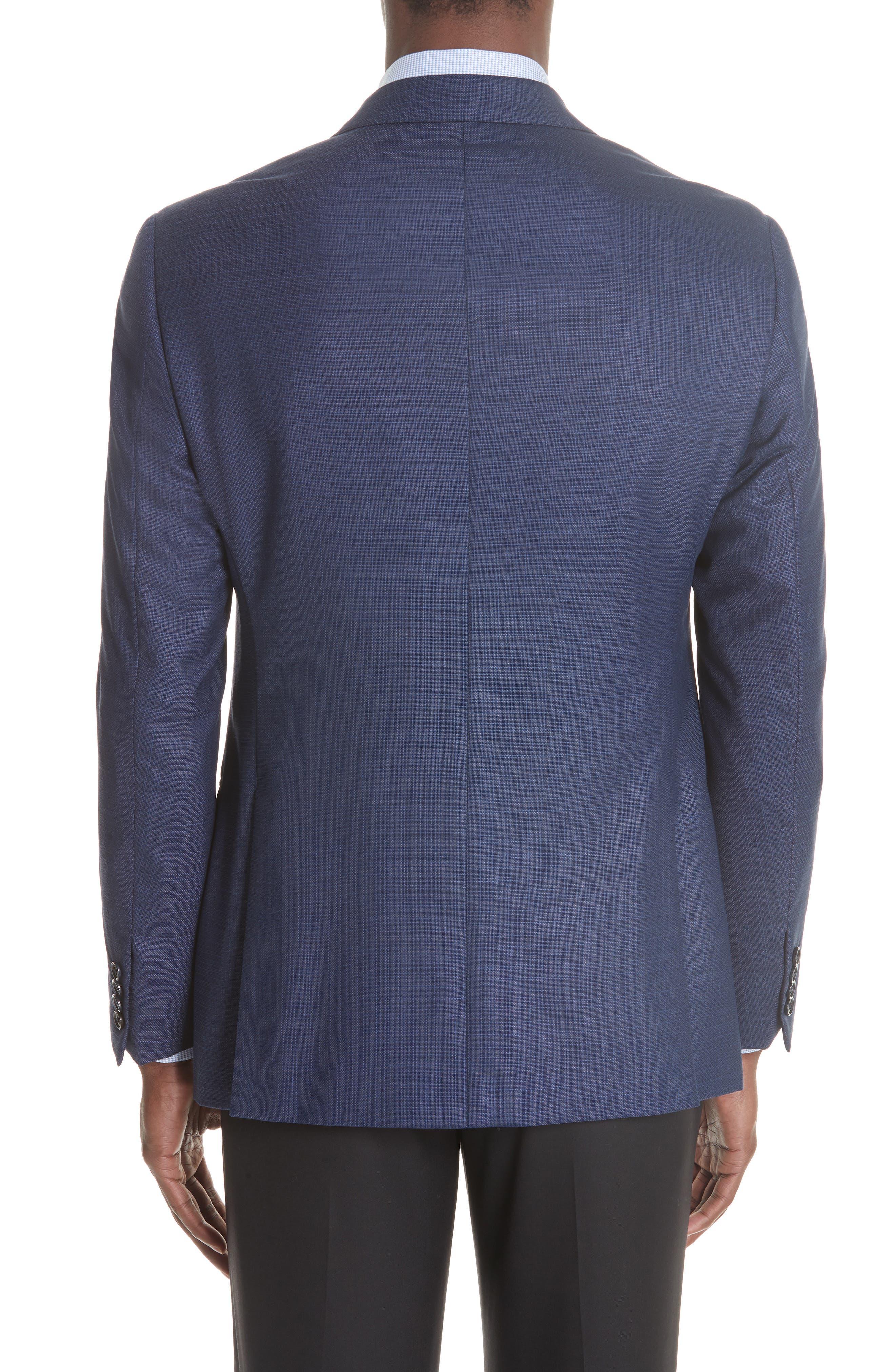 G Line Trim Fit Wool Blazer,                             Alternate thumbnail 2, color,                             Blue