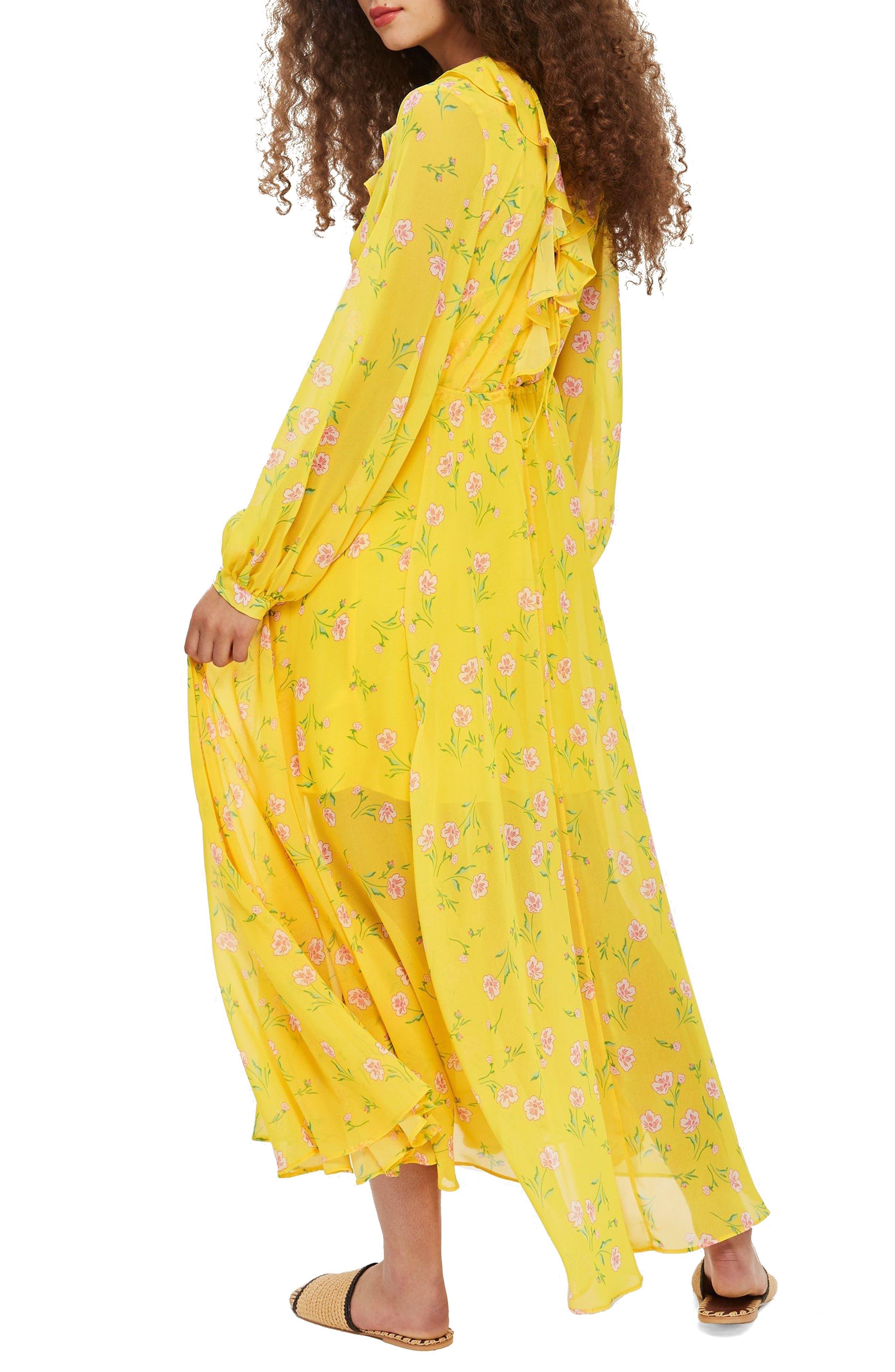 Margot Floral Maxi Dress,                             Alternate thumbnail 2, color,                             Yellow Multi