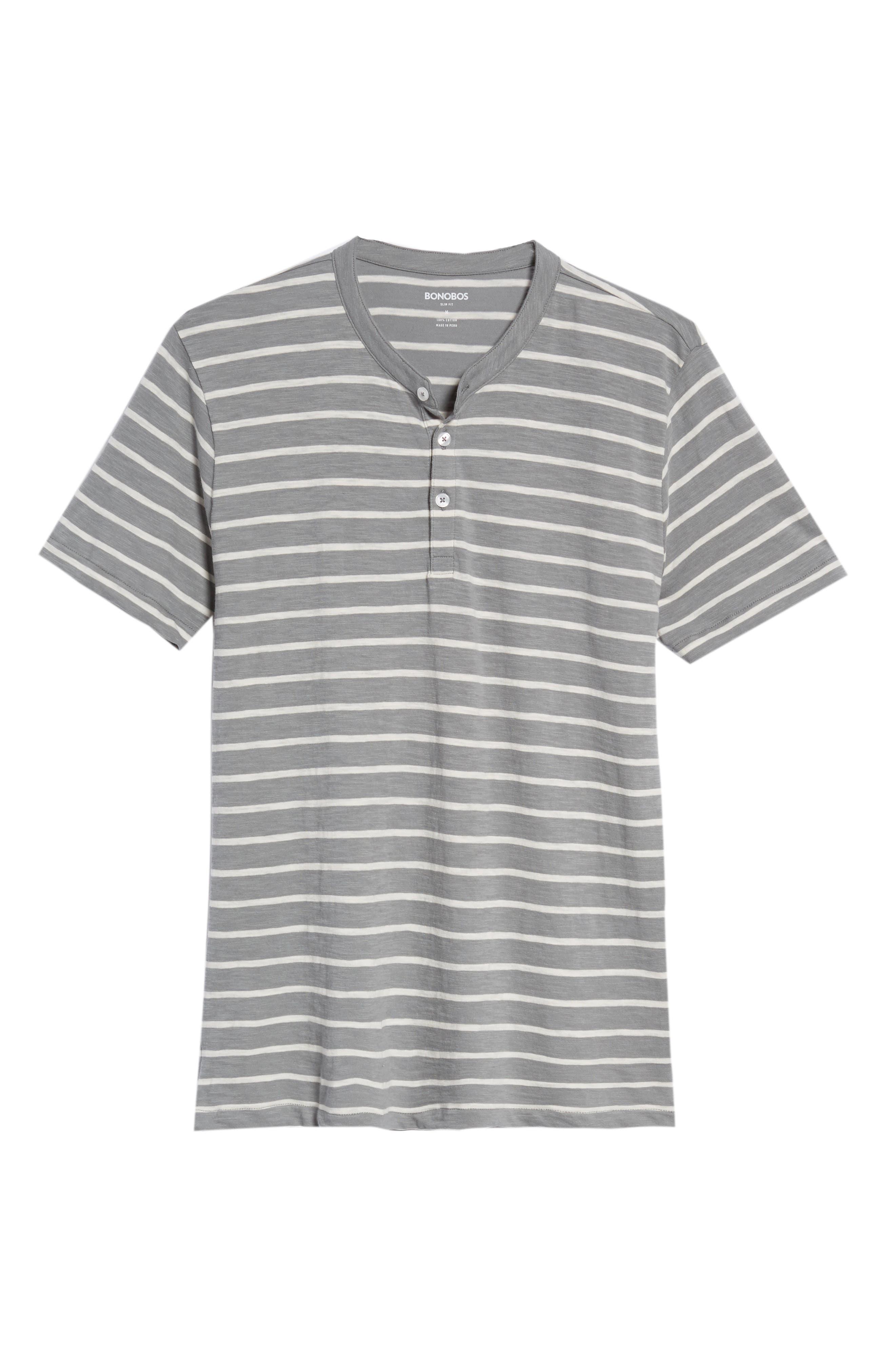 Slim Fit Stripe Henley T-Shirt,                             Alternate thumbnail 6, color,                             Sterling/ Seashell