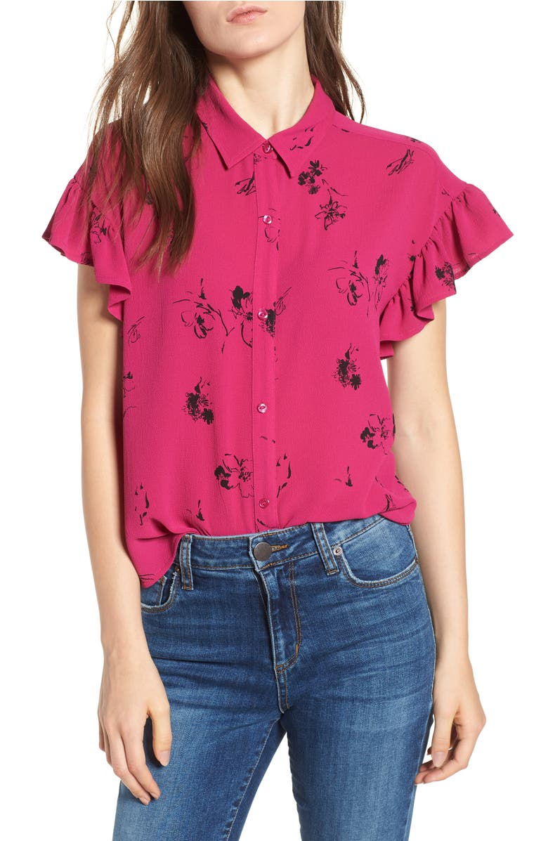 Ruffle Sleeve Print Shirt,                         Main,                         color, Pink Plumier Italian Sketch