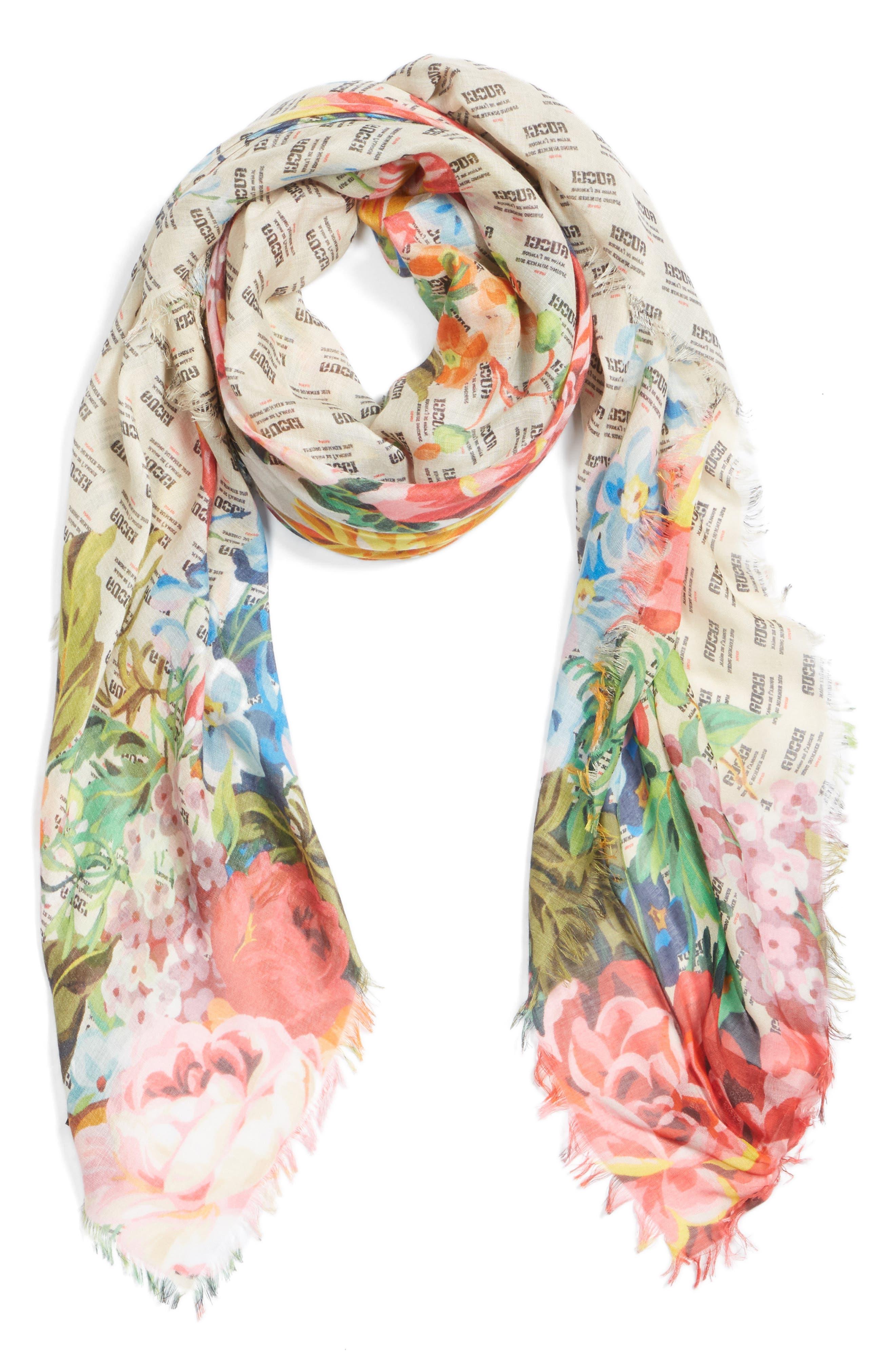 Night Flowers Modal & Silk Shawl,                             Alternate thumbnail 3, color,                             Ivory/ Multicolor