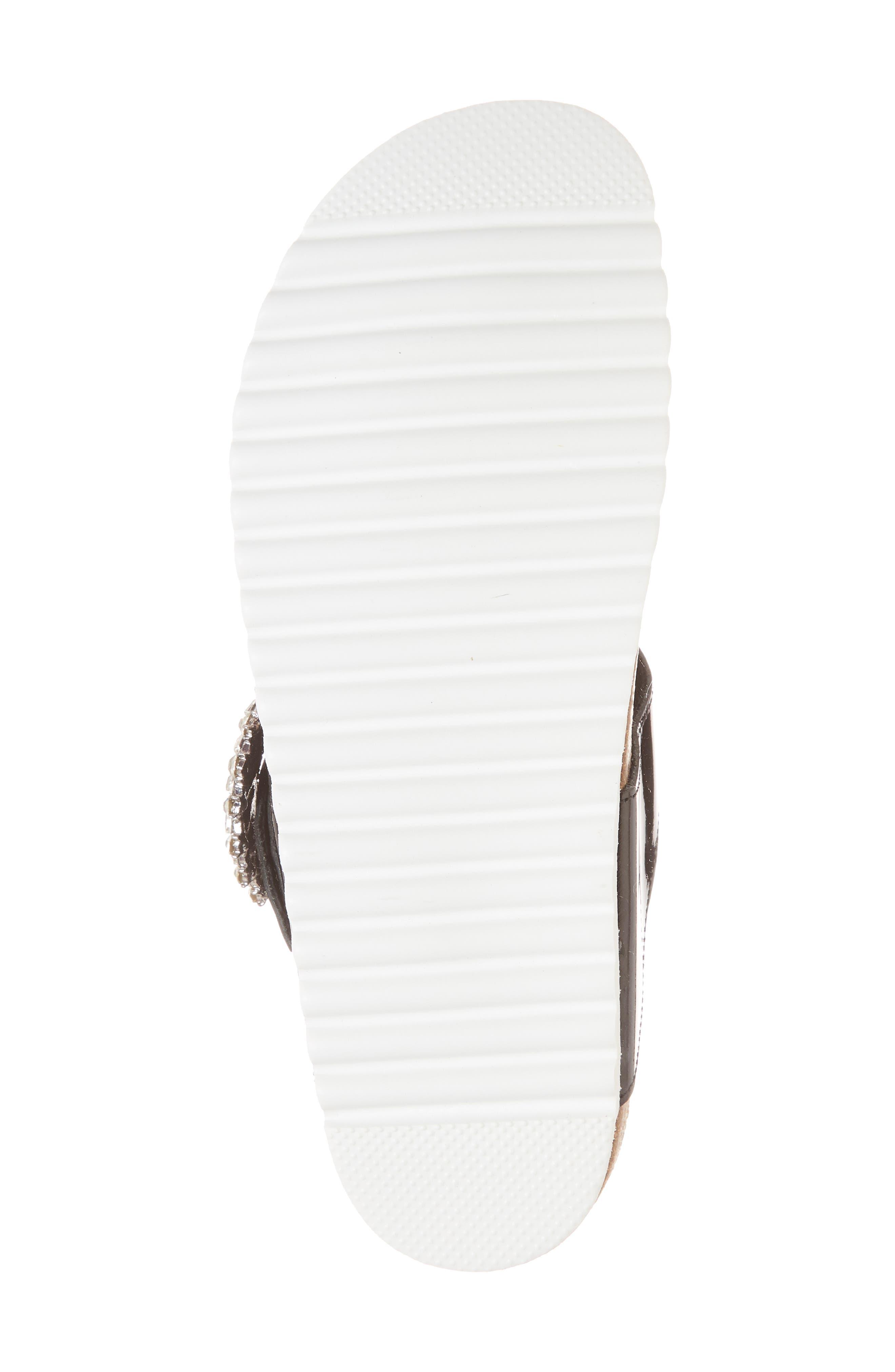 Madeira Embellished T-Strap Sandal,                             Alternate thumbnail 6, color,                             Black Patent/ Black Silver
