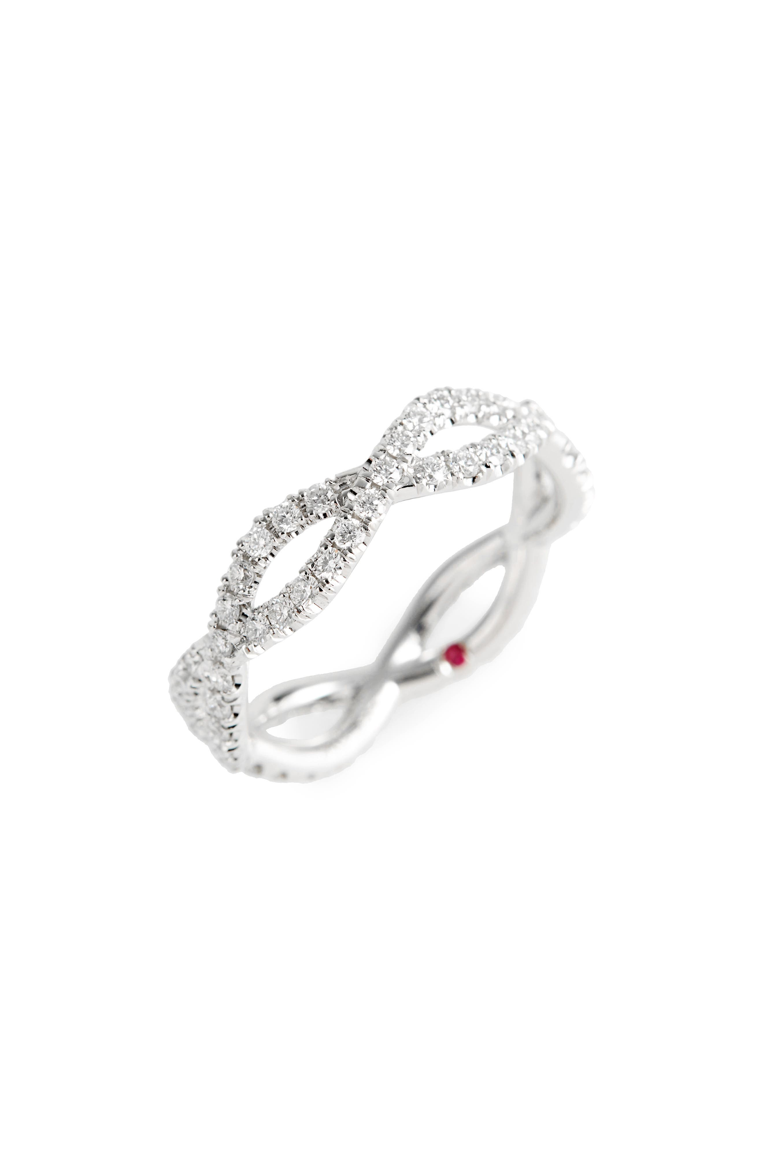 Diamond Infinity Ring,                             Main thumbnail 1, color,                             White Gold