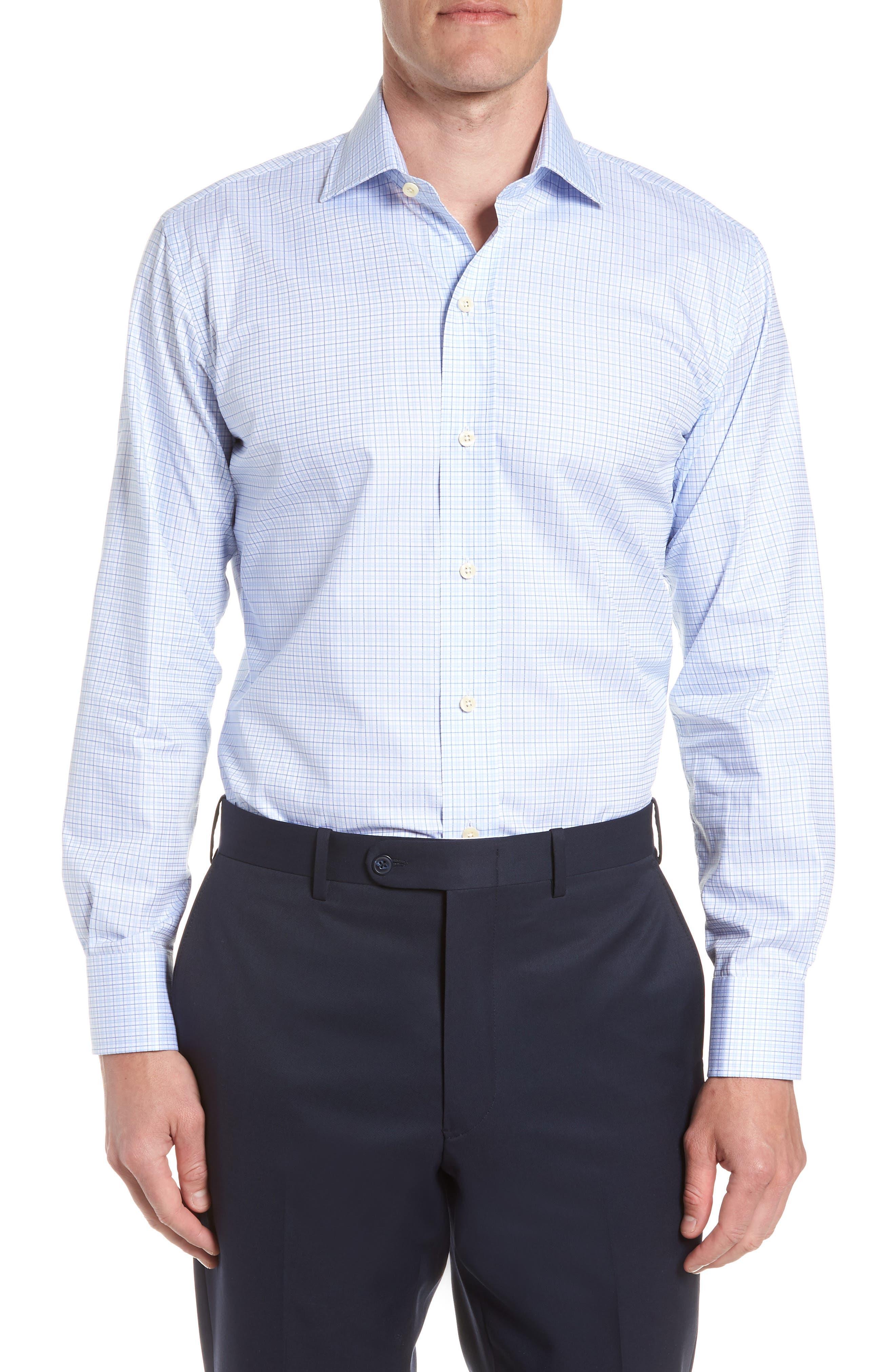 Moorland Trim Fit Check Dress Shirt,                             Main thumbnail 1, color,                             Blue