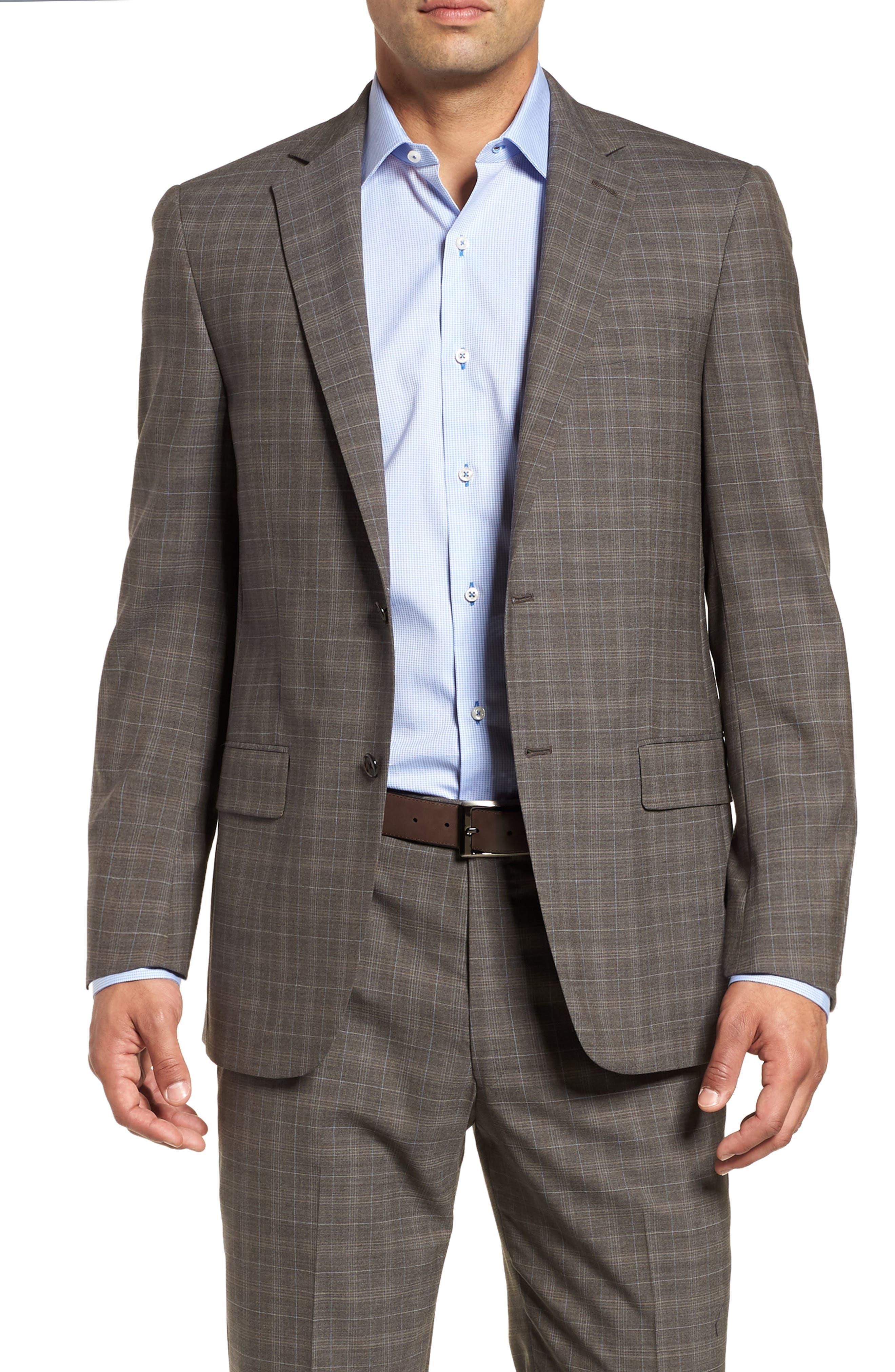 Classic Fit Plaid Stretch Wool Suit,                             Alternate thumbnail 5, color,                             Brown