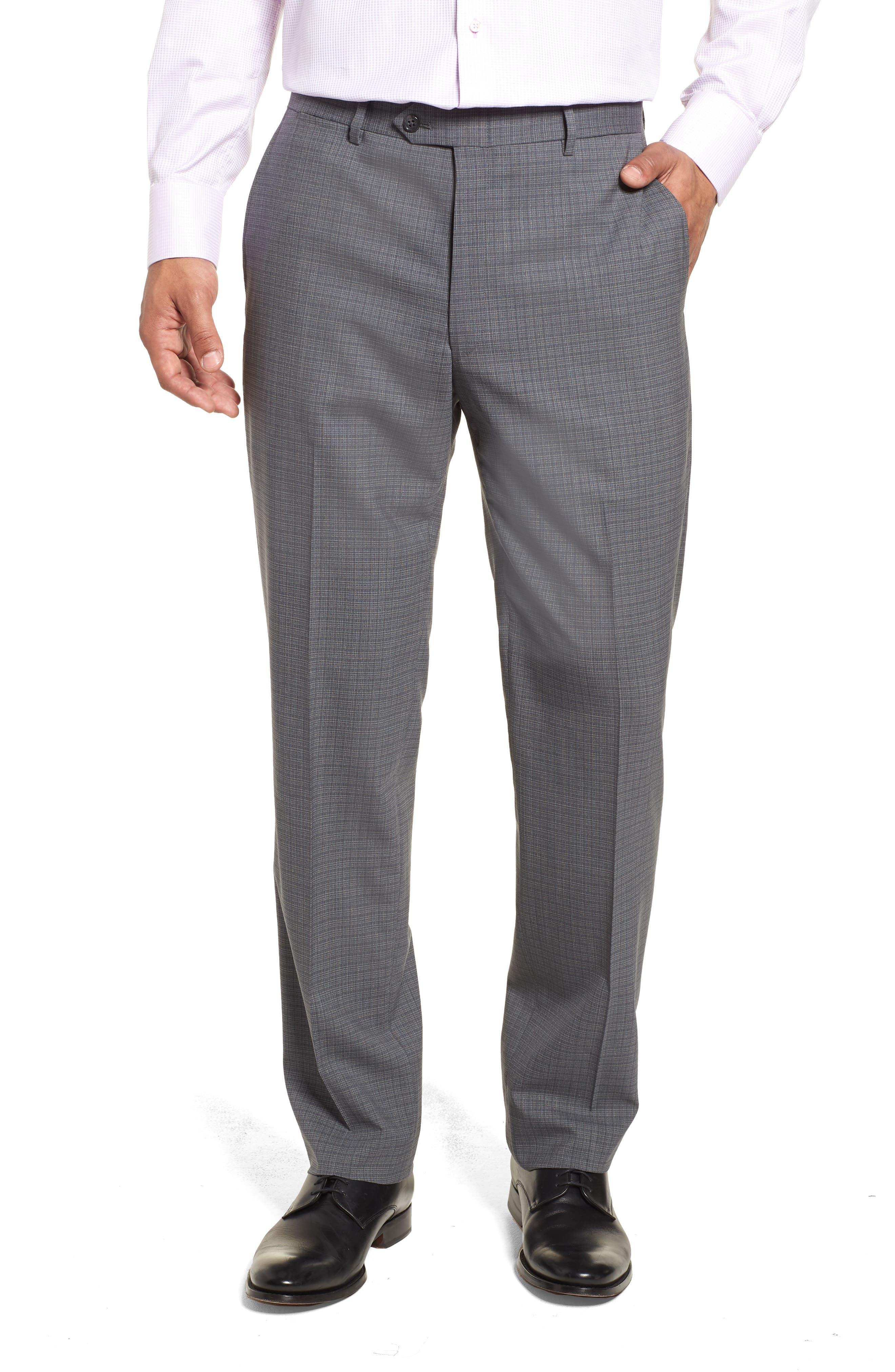 Classic Fit Stretch Plaid Wool Suit,                             Alternate thumbnail 6, color,                             Grey Plaid