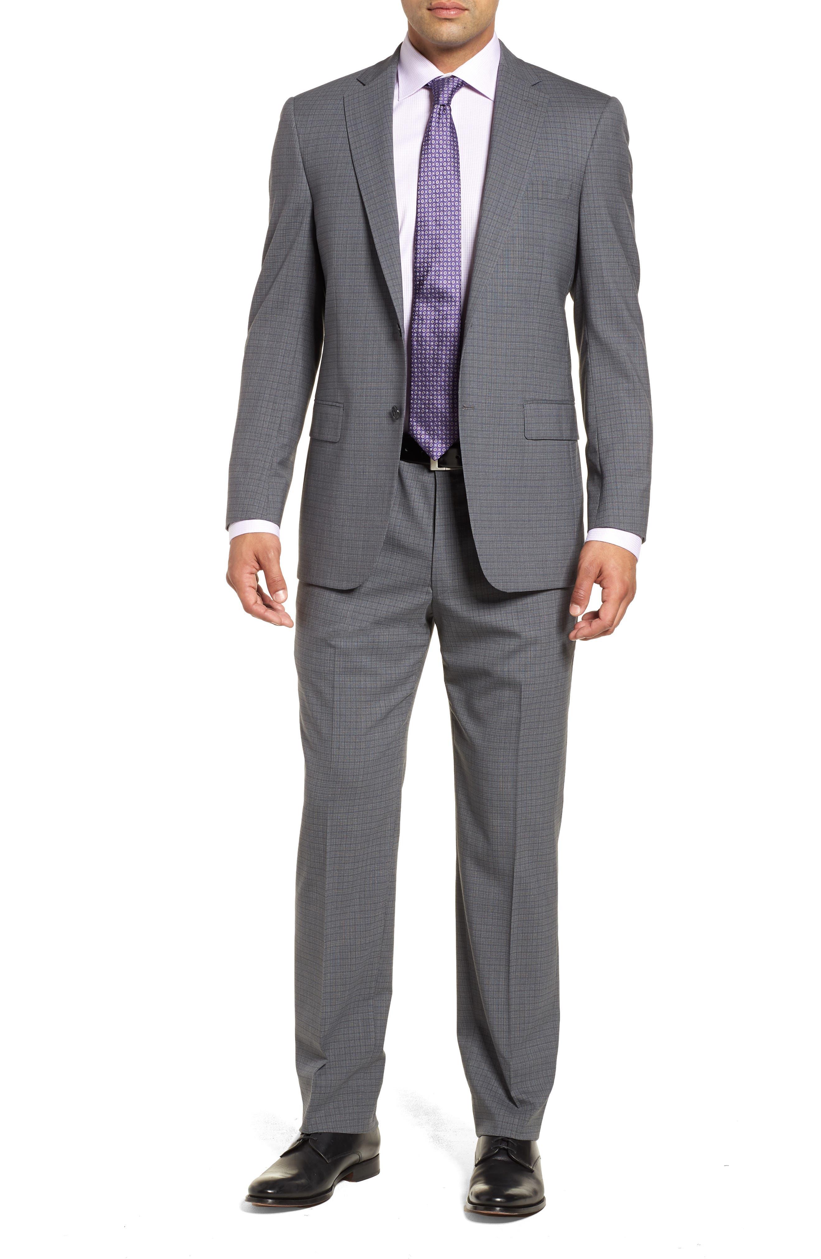 Classic Fit Stretch Plaid Wool Suit,                         Main,                         color, Grey Plaid