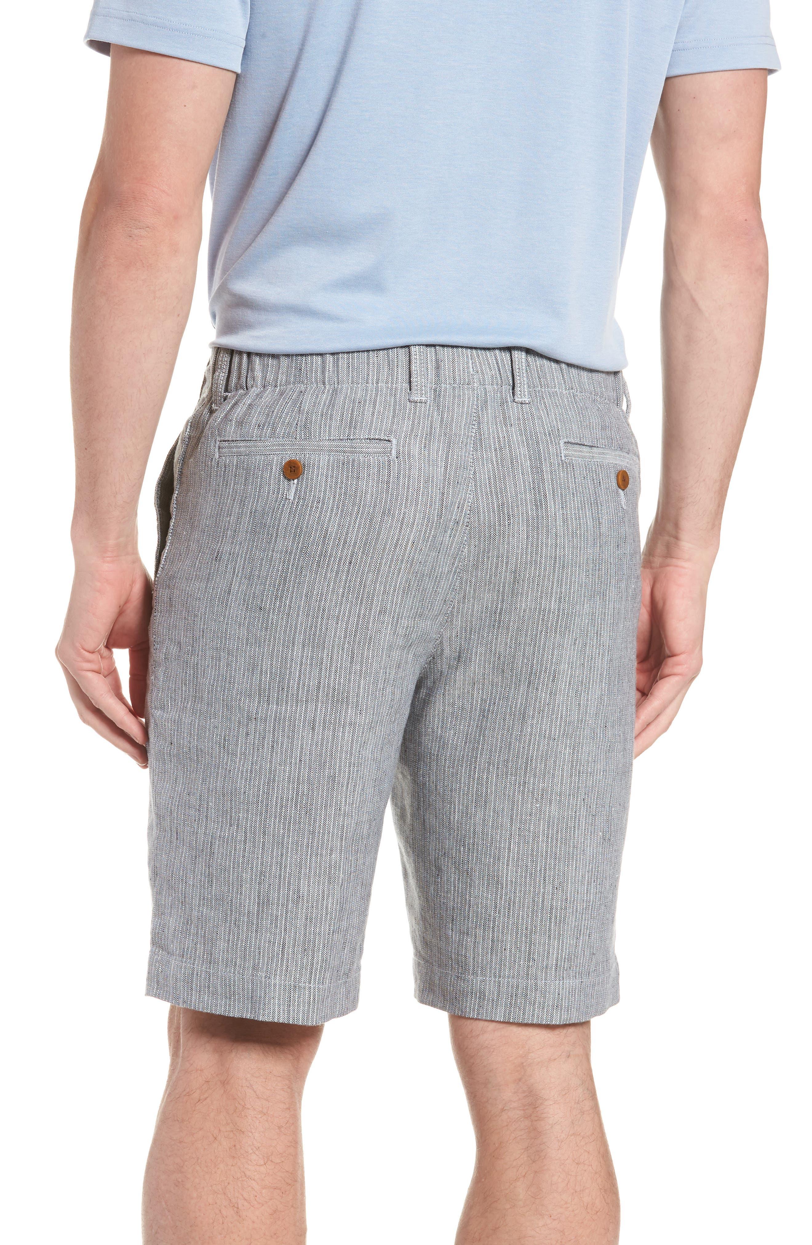 Harbor Herringbone Linen Blend Shorts,                             Alternate thumbnail 2, color,                             Black