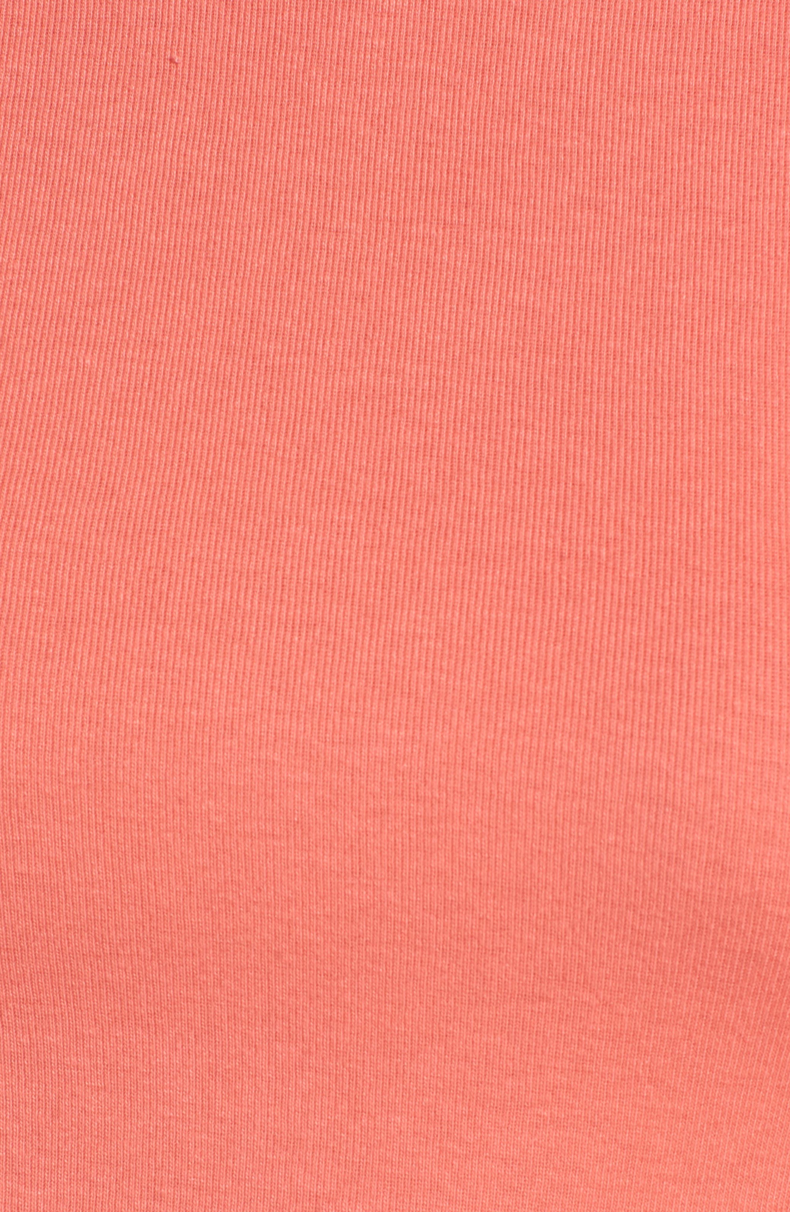 Crewneck Cotton Blend Top,                             Alternate thumbnail 6, color,                             Coral Sugar