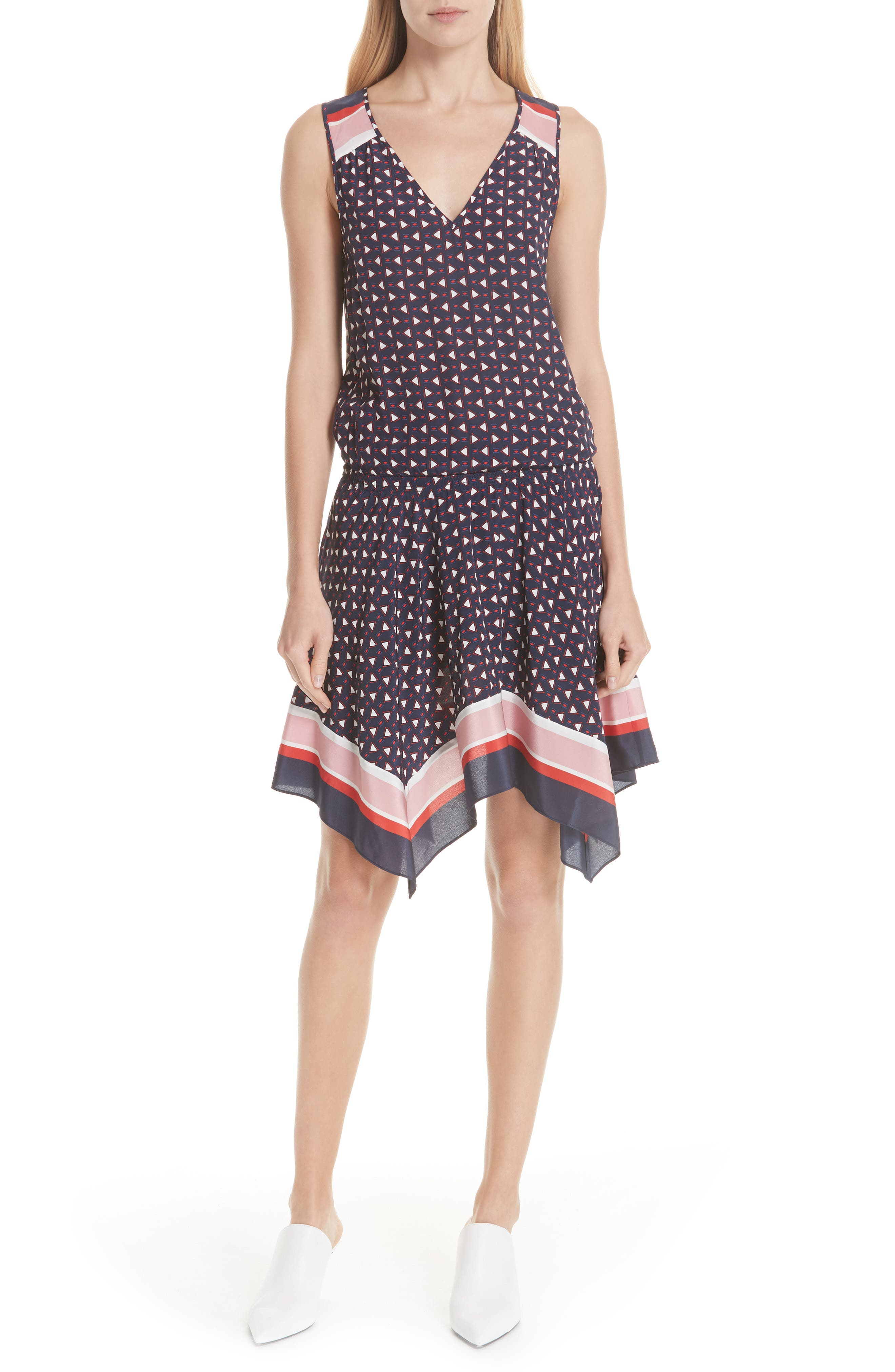 Ginabel Silk Handkerchief Dress,                         Main,                         color, Dark Navy