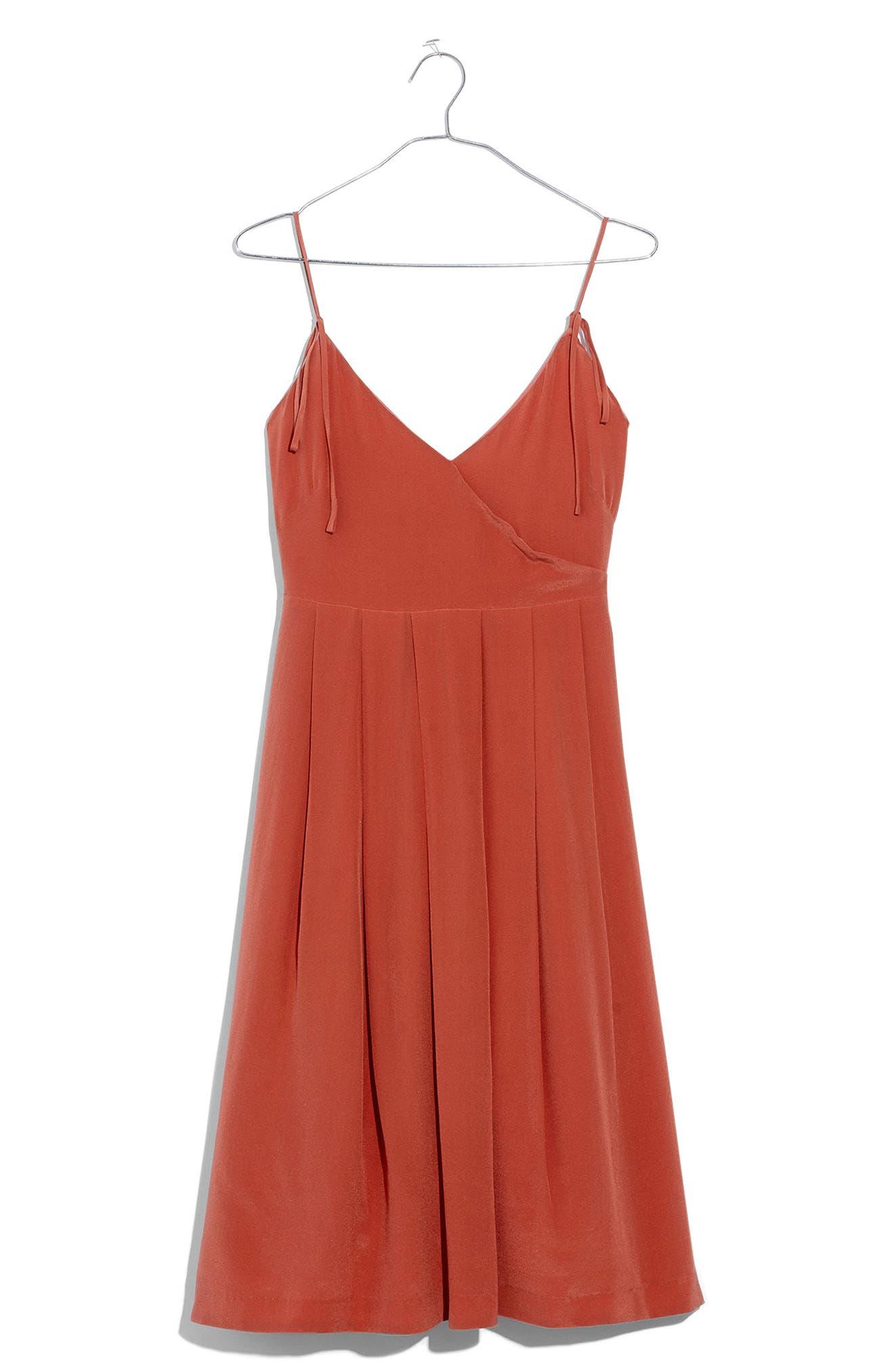 Fern Silk Faux Wrap Dress,                             Alternate thumbnail 3, color,                             Spiced Rose