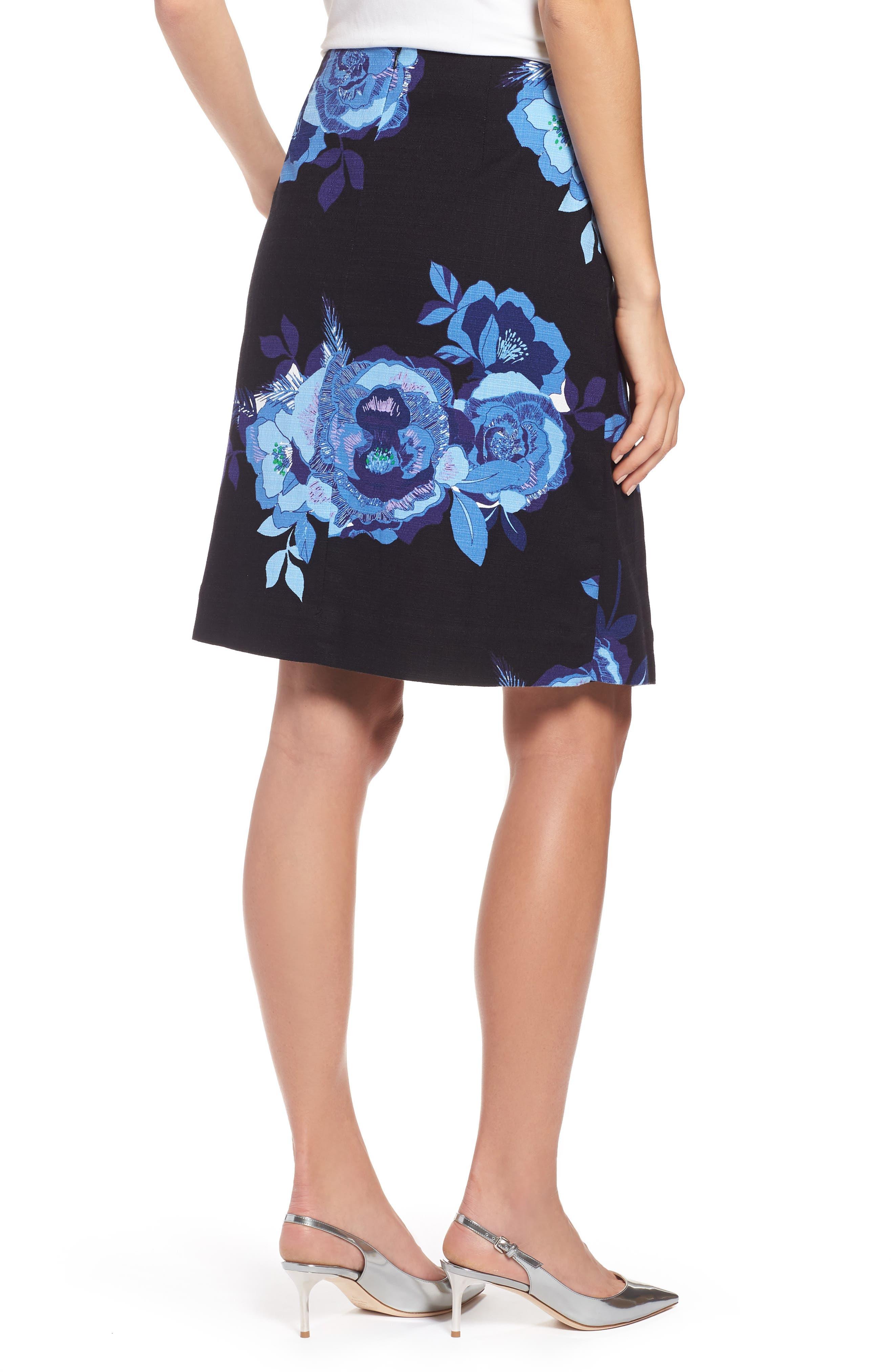 Floral Cotton Blend Wrap Skirt,                             Alternate thumbnail 2, color,                             Black- Blue Rose Print