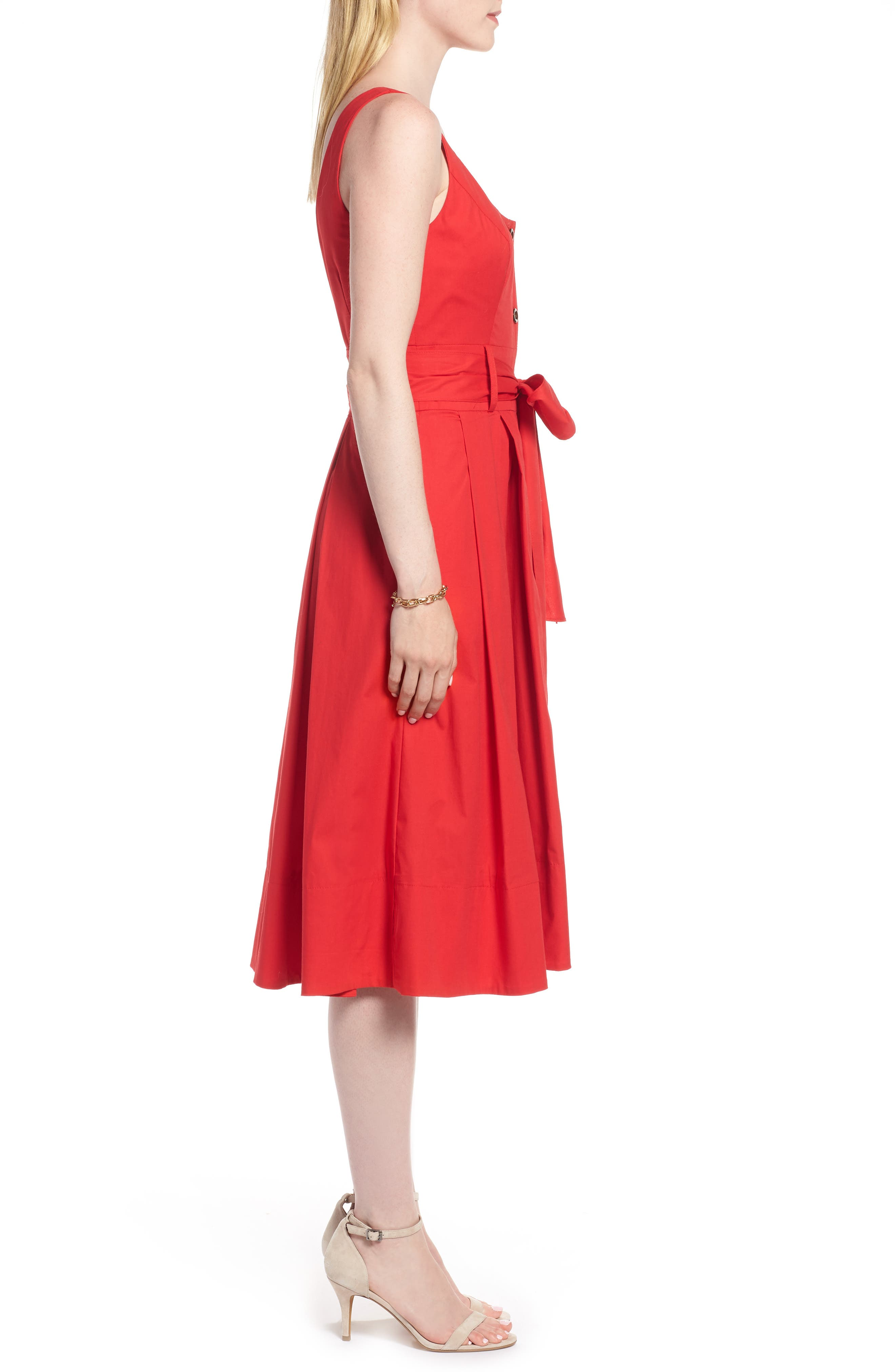 Button Front Fit & Flare Midi Dress,                             Alternate thumbnail 3, color,                             Red Saucy