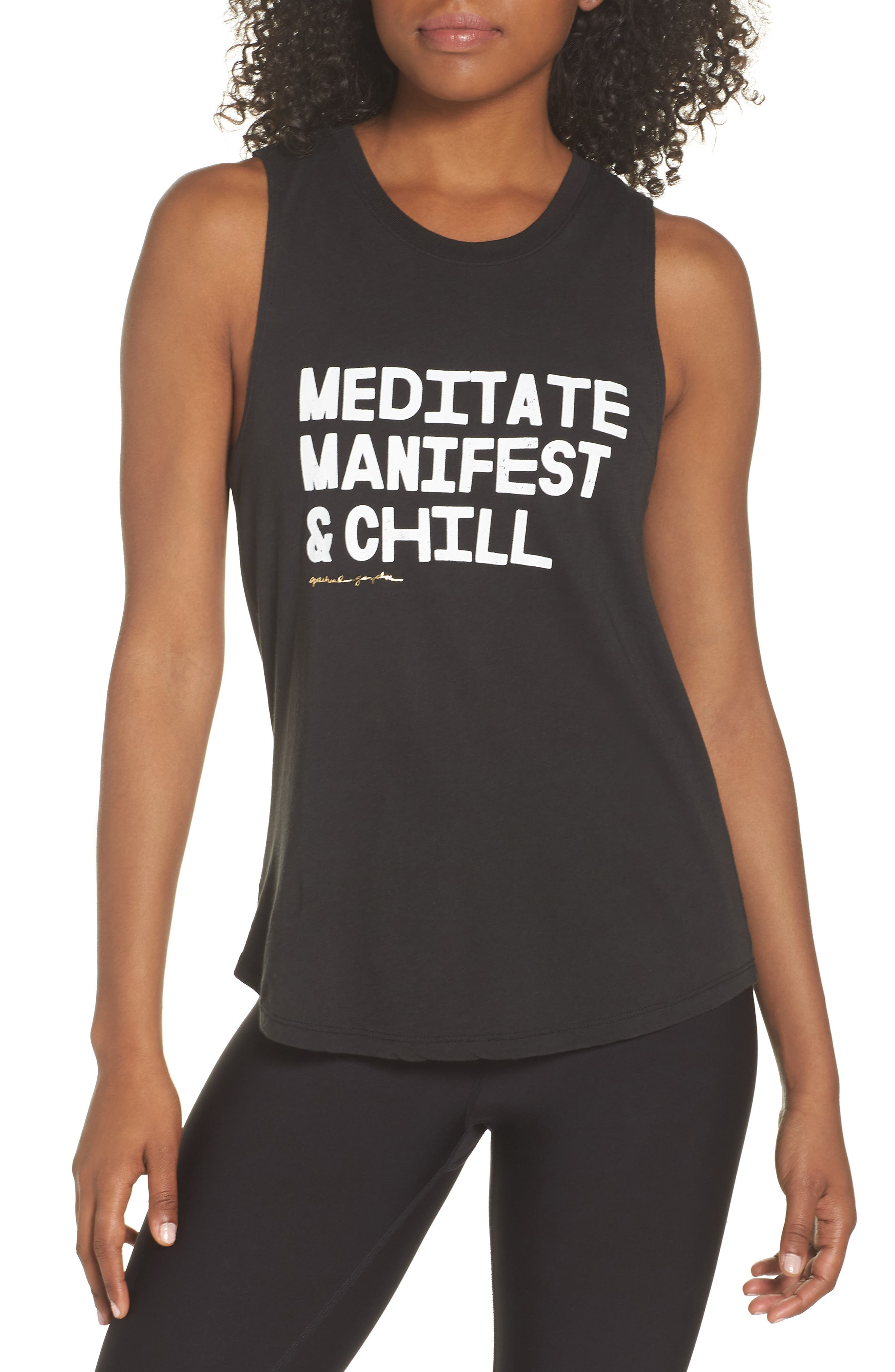 Meditate, Manifest & Chill Muscle Tee,                             Main thumbnail 1, color,                             Vntg Black