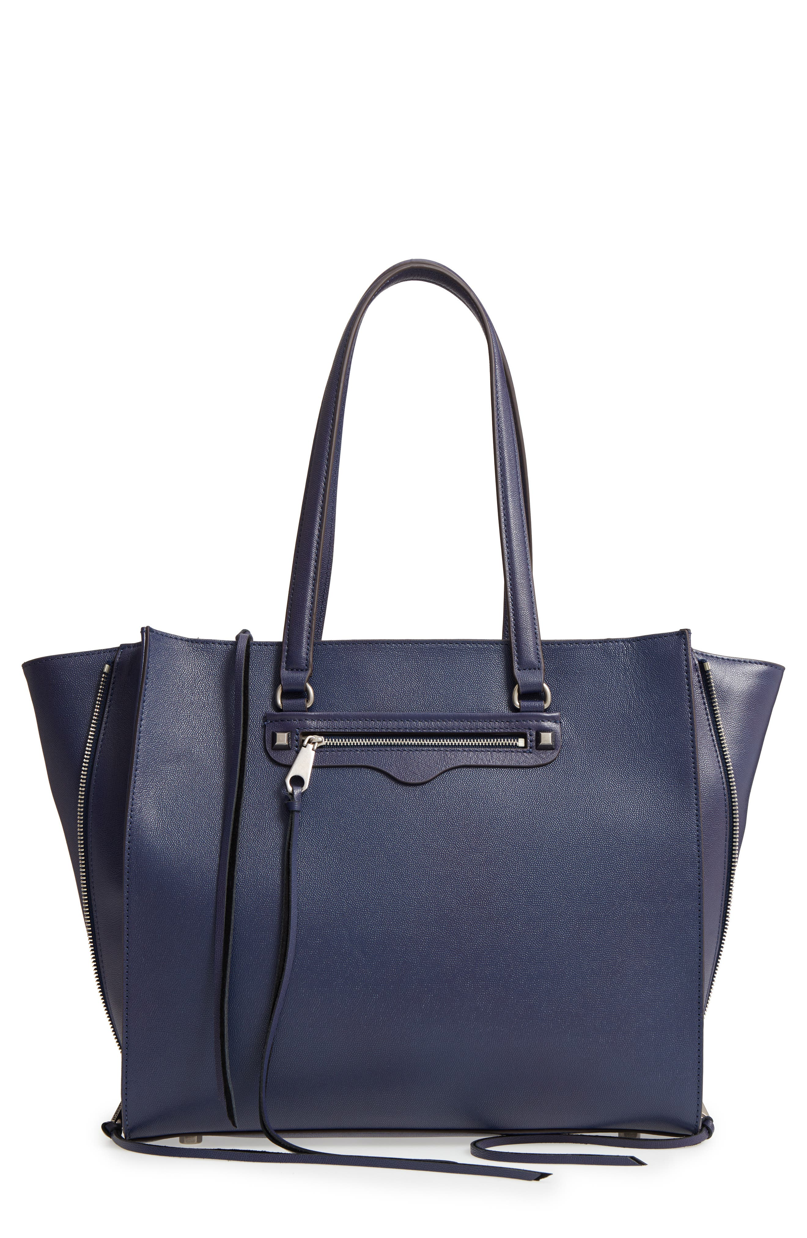 Always On Regan Leather Tote,                             Main thumbnail 1, color,                             True Navy