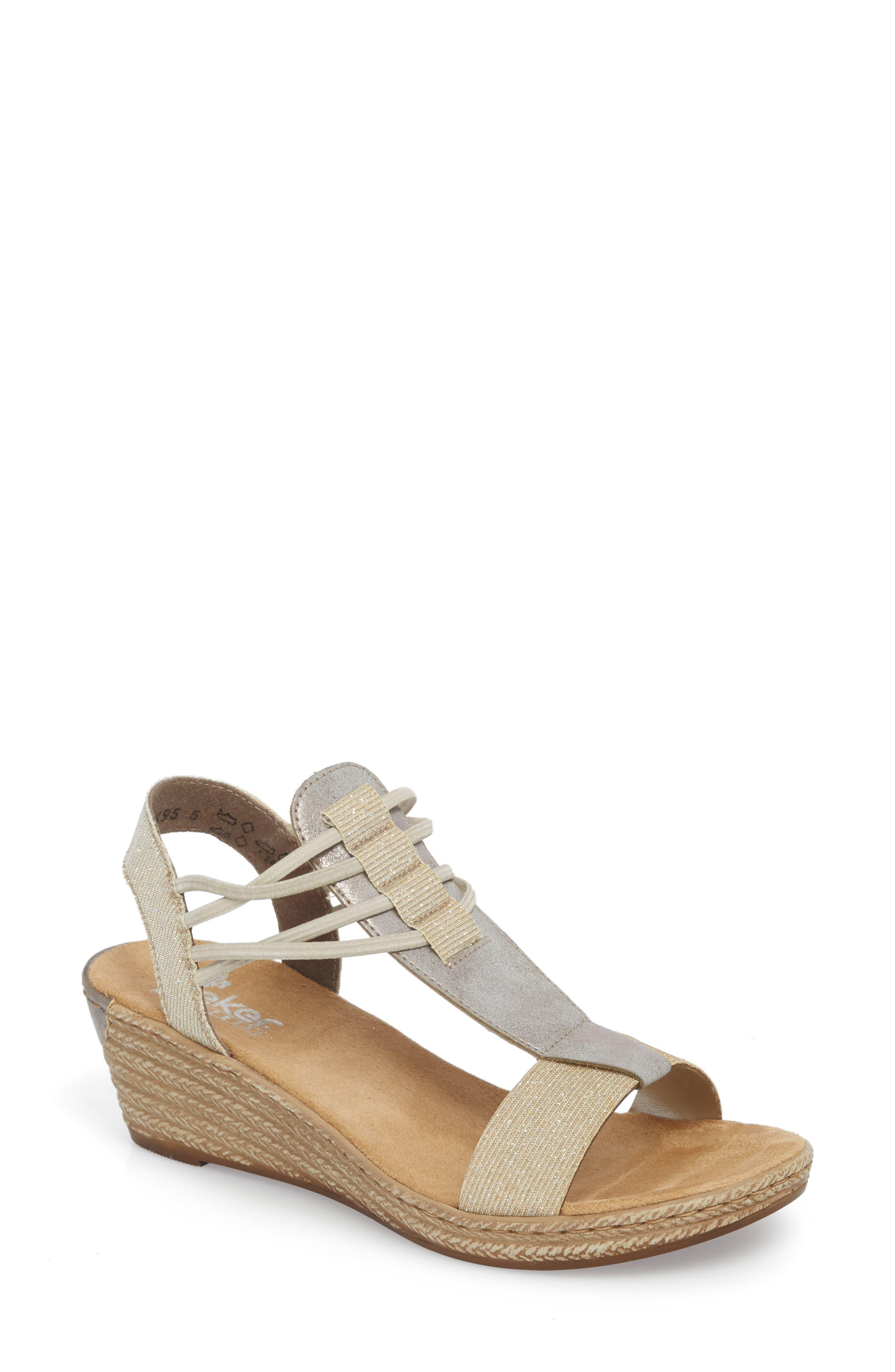 Fanni 22 Espadrille Wedge Sandal,                             Main thumbnail 1, color,                             Light Gold/ Grey Fabric