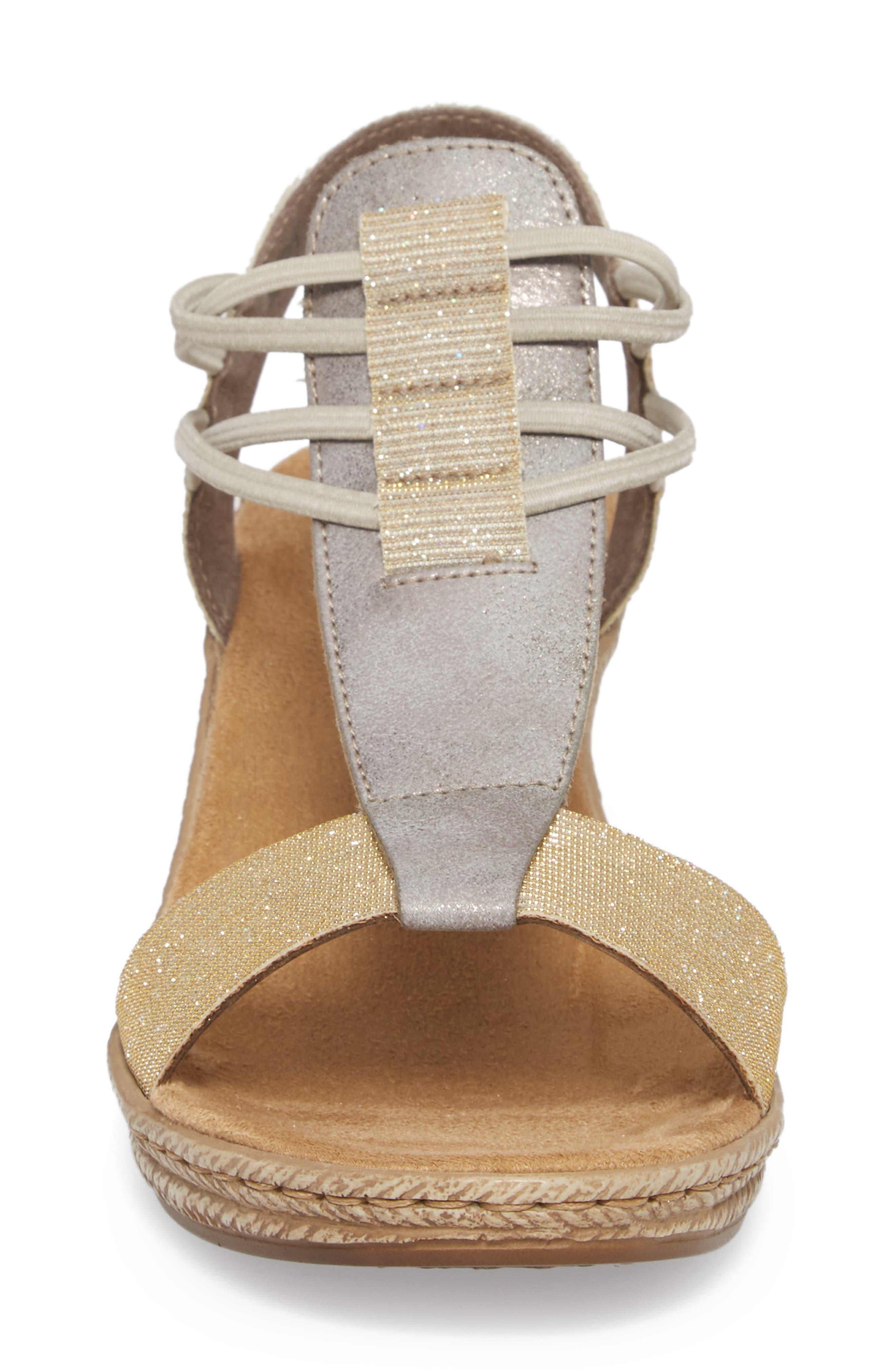 Fanni 22 Espadrille Wedge Sandal,                             Alternate thumbnail 4, color,                             Light Gold/ Grey Fabric