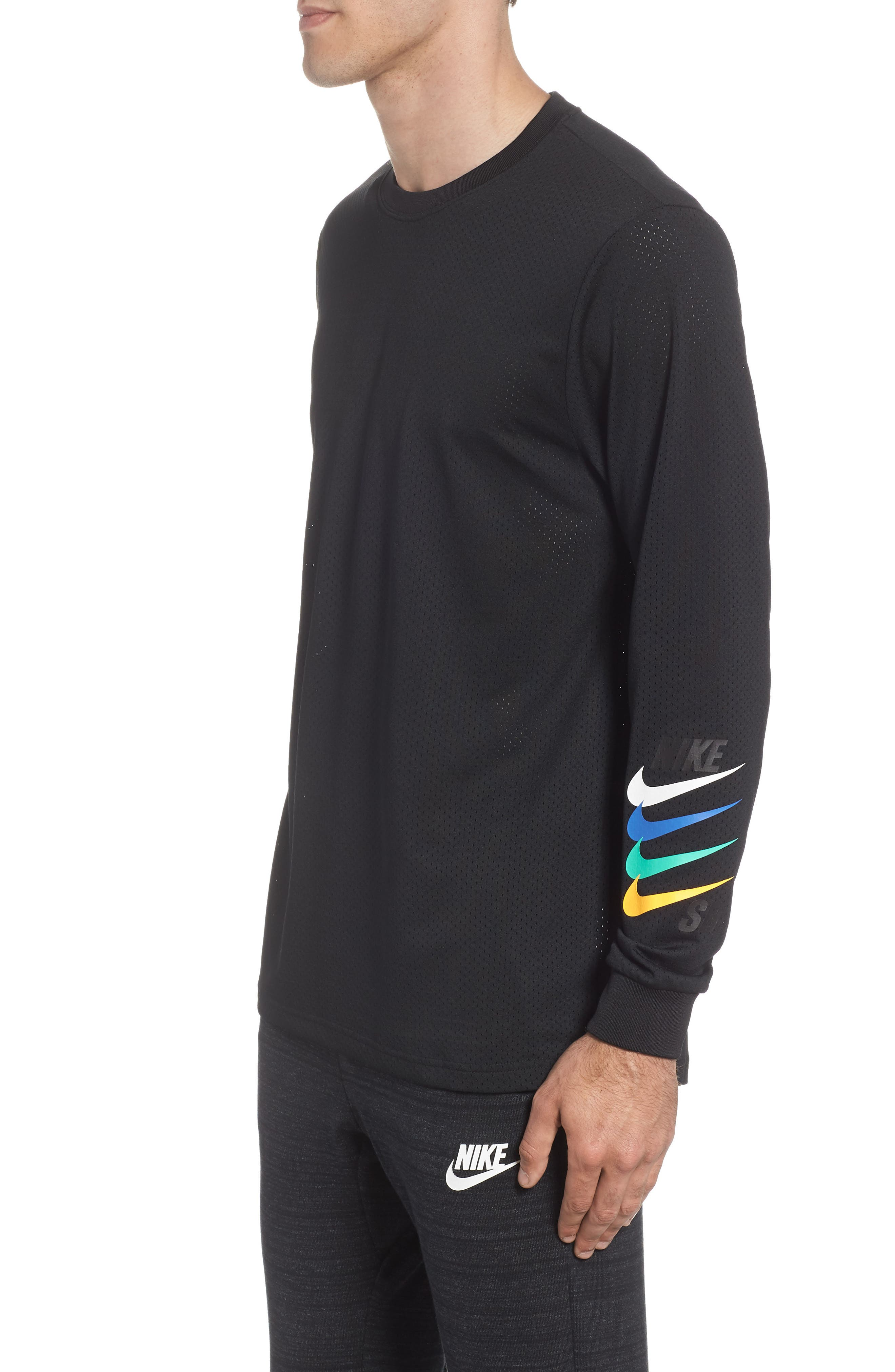 SB Dry GFX Long Sleeve T-Shirt,                             Alternate thumbnail 3, color,                             Black/ Black