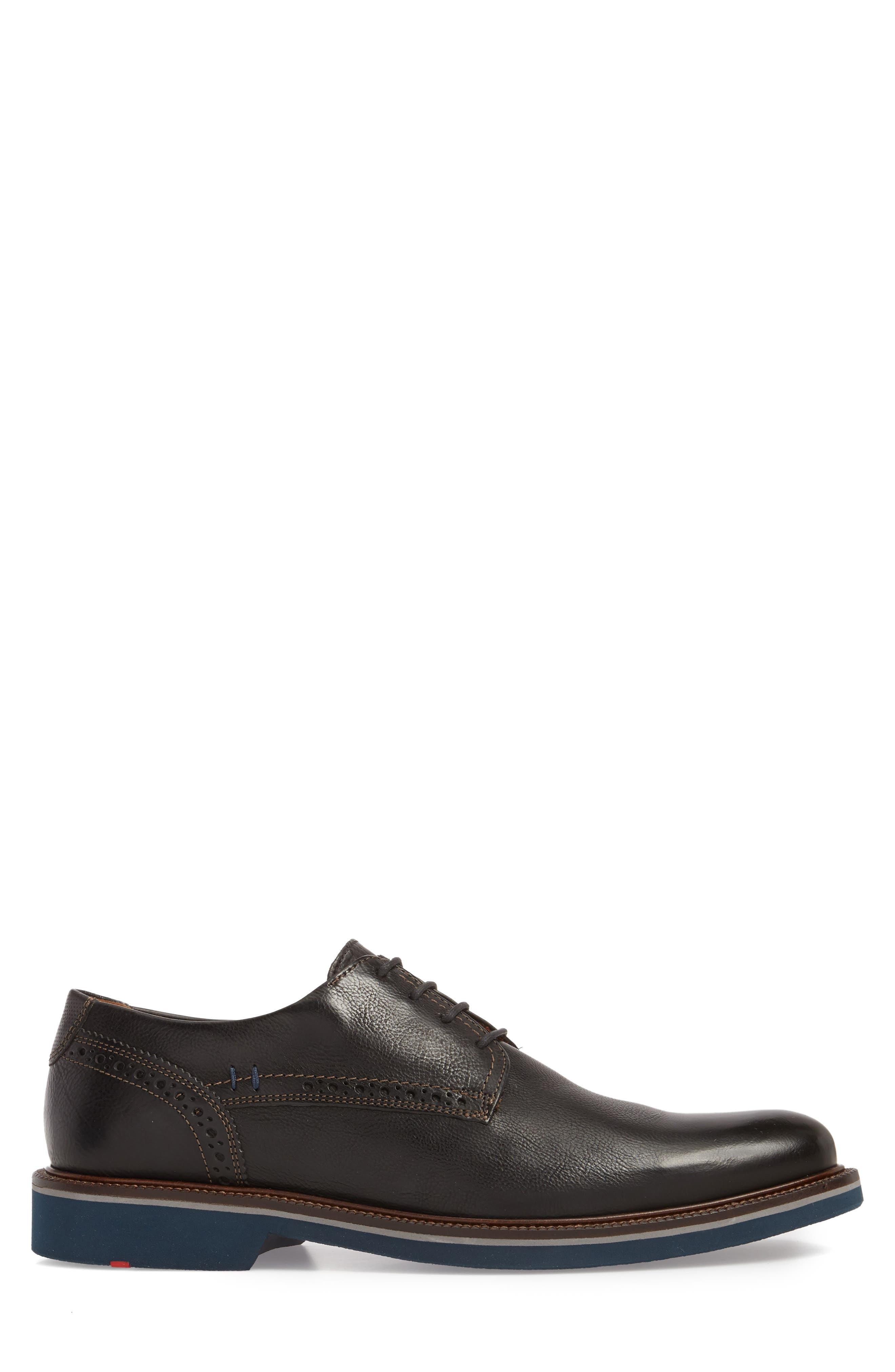 Hagen Plain Toe Derby,                             Alternate thumbnail 3, color,                             Black Leather