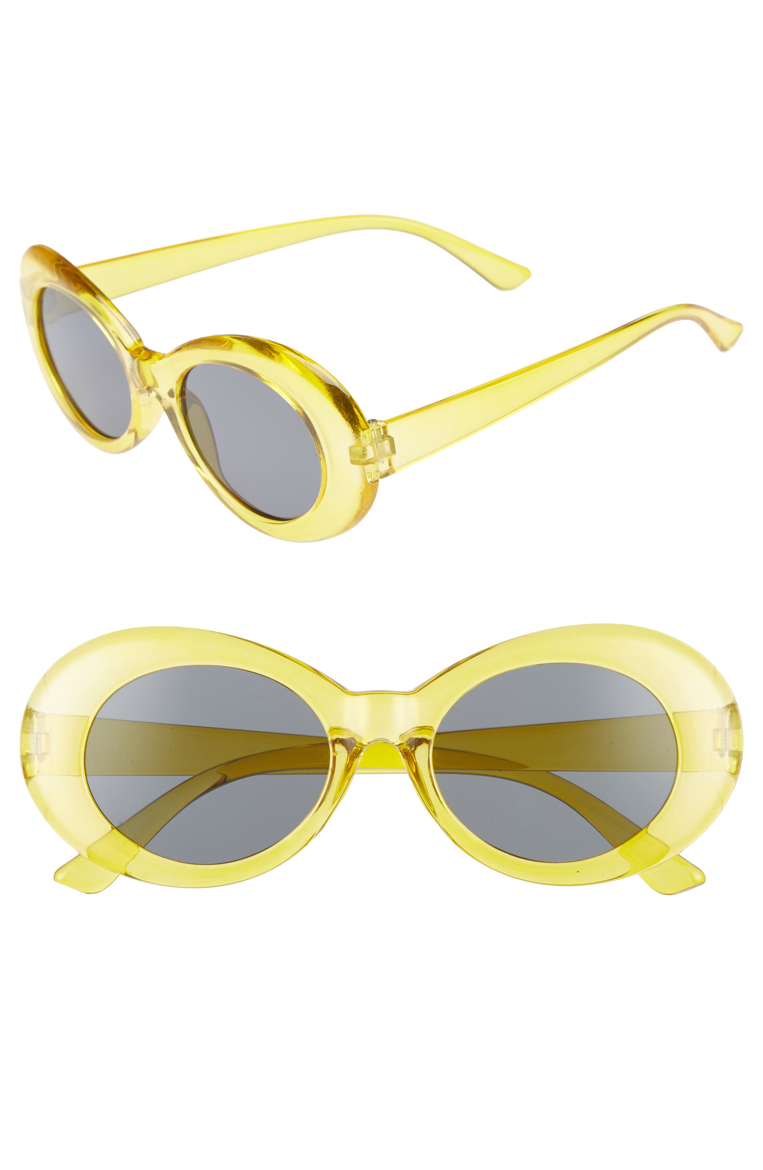 50mm Round Sunglasses,                             Main thumbnail 1, color,                             Clear Yellow