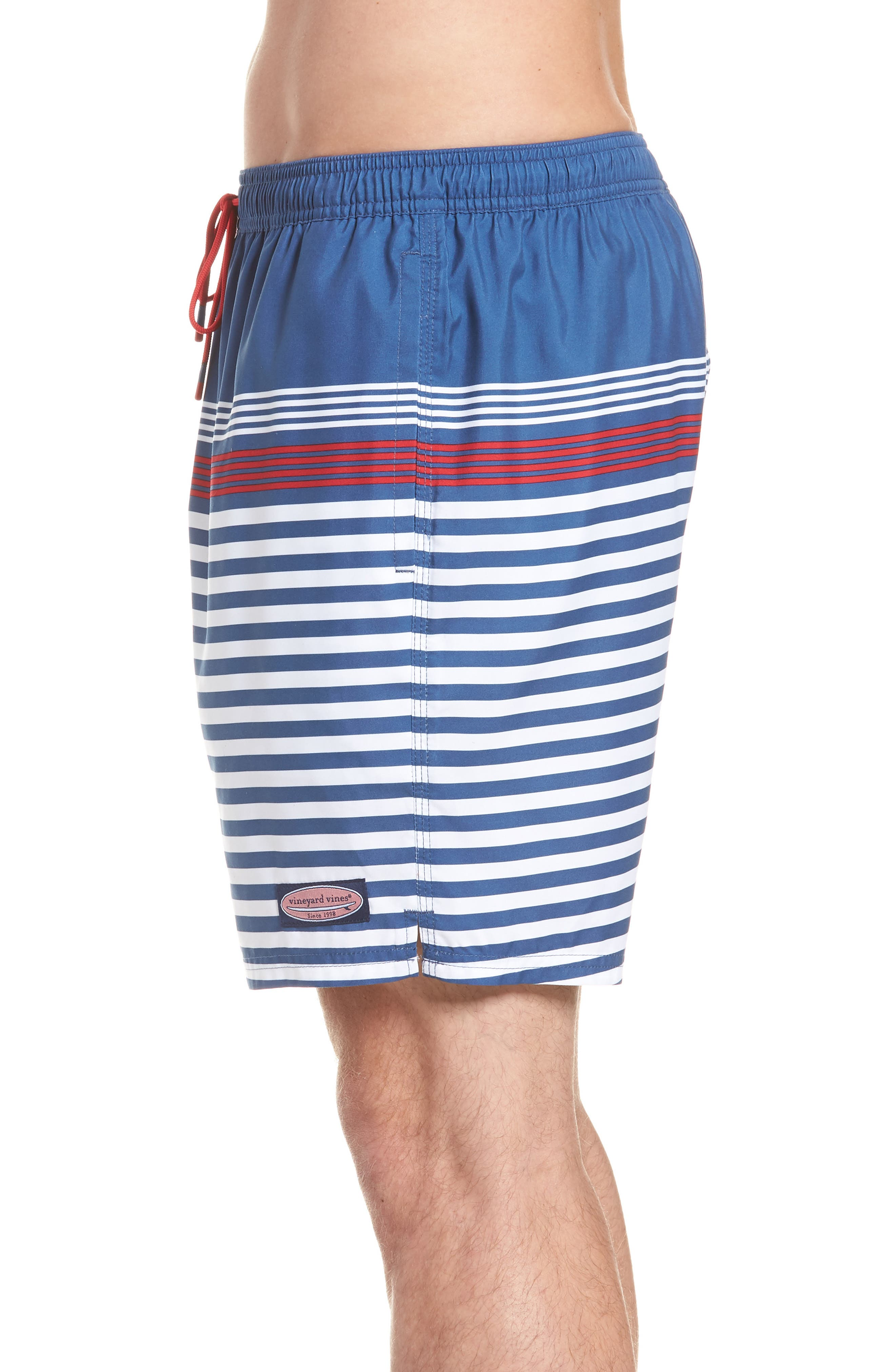 Chappy Summerall Stripe Swim Trunks,                             Alternate thumbnail 3, color,                             Moonshine