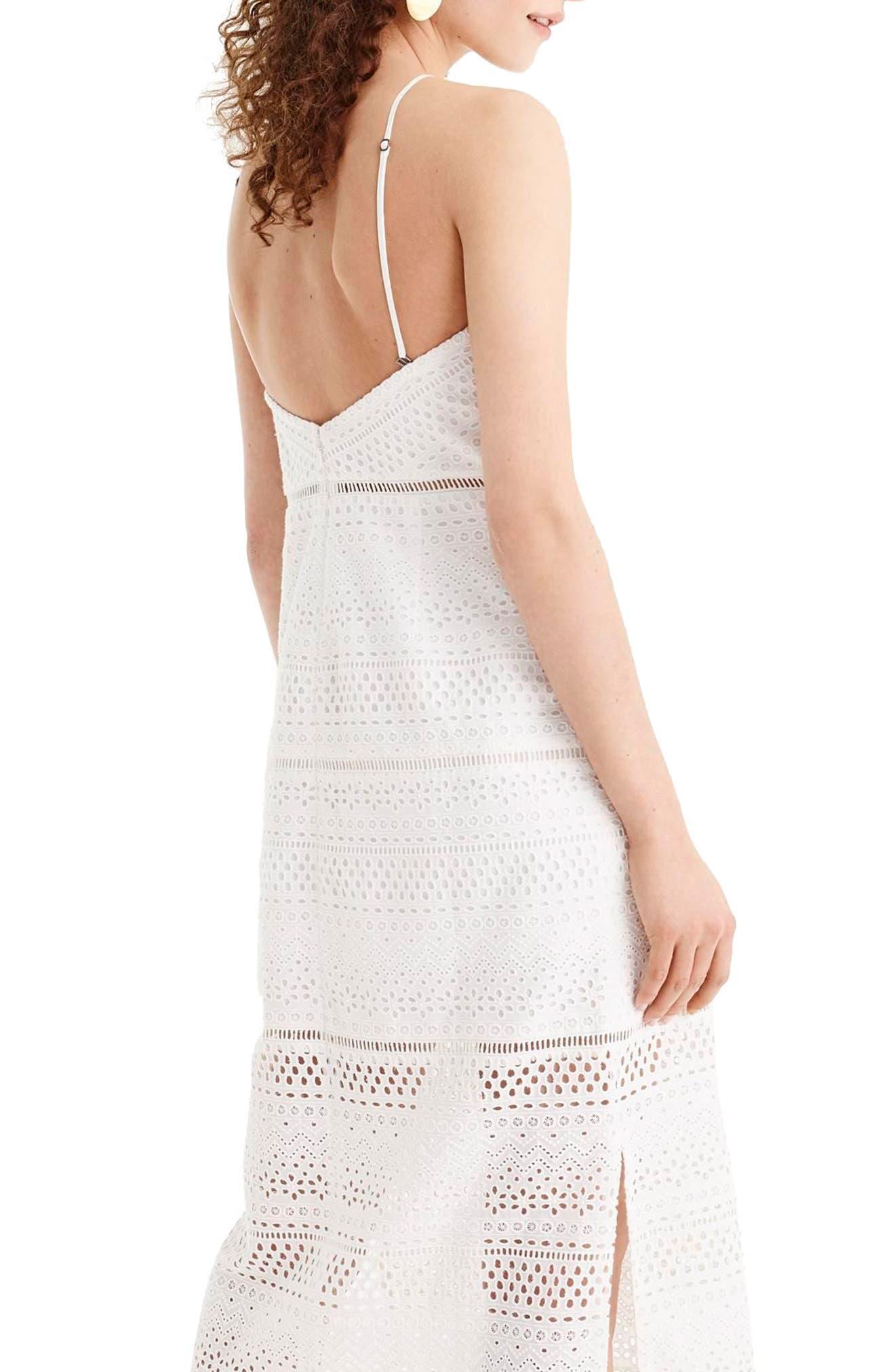 String Halter Eyelet Dress,                             Alternate thumbnail 2, color,                             White