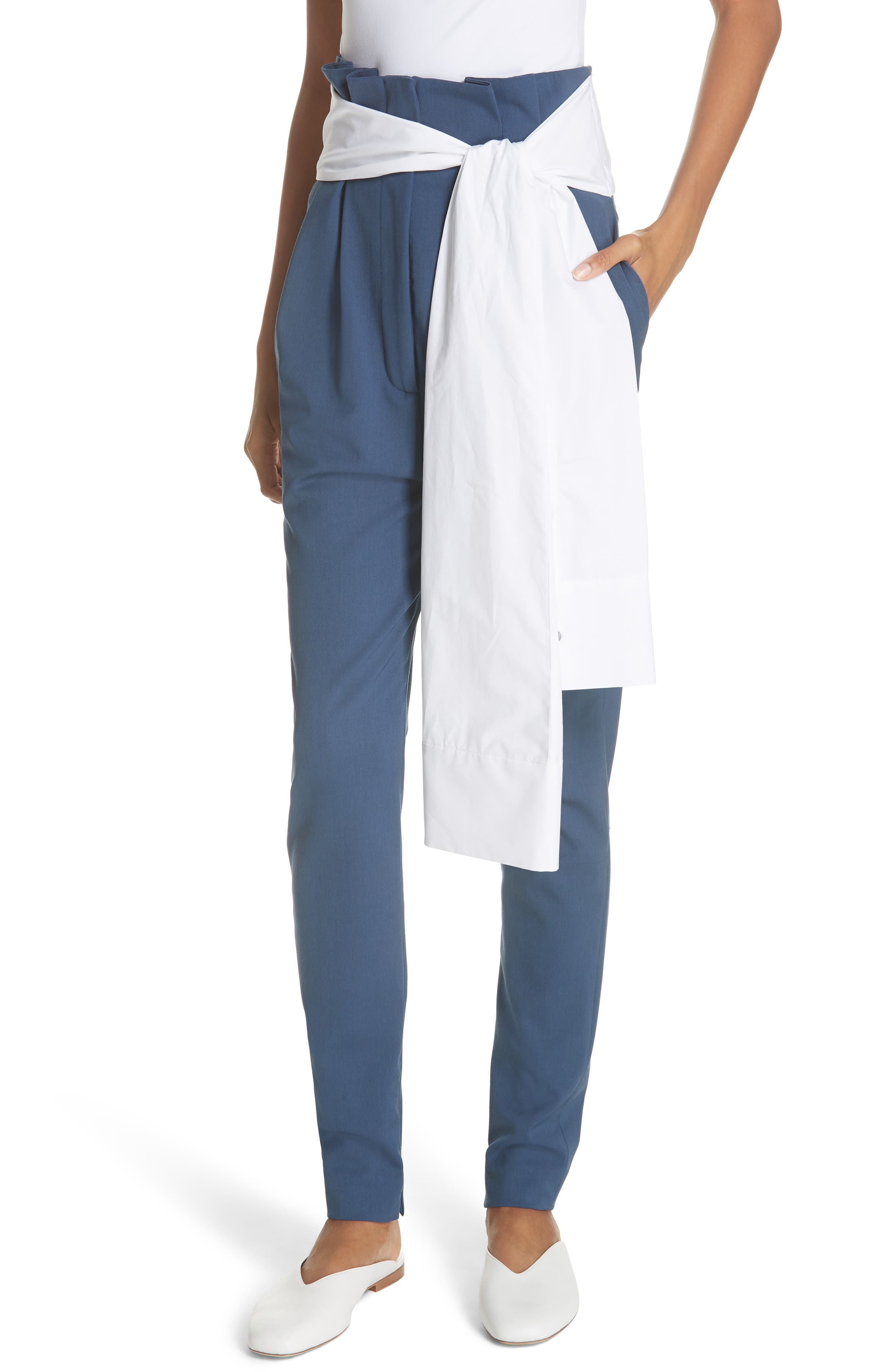 Tie Waist Paperbag Pants,                         Main,                         color, Blue
