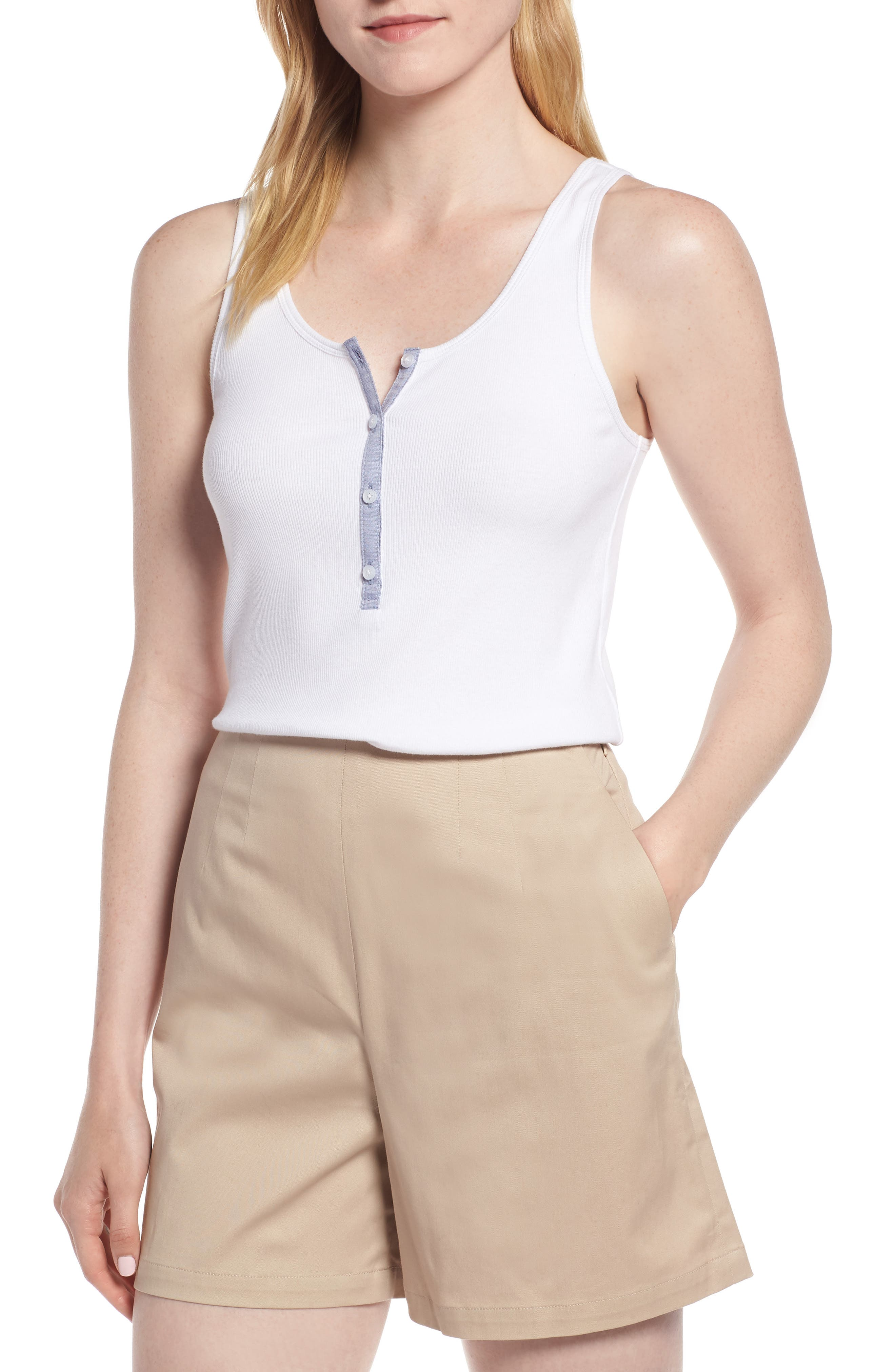 Ribbed Henley Cotton Blend Tank Top,                         Main,                         color, White