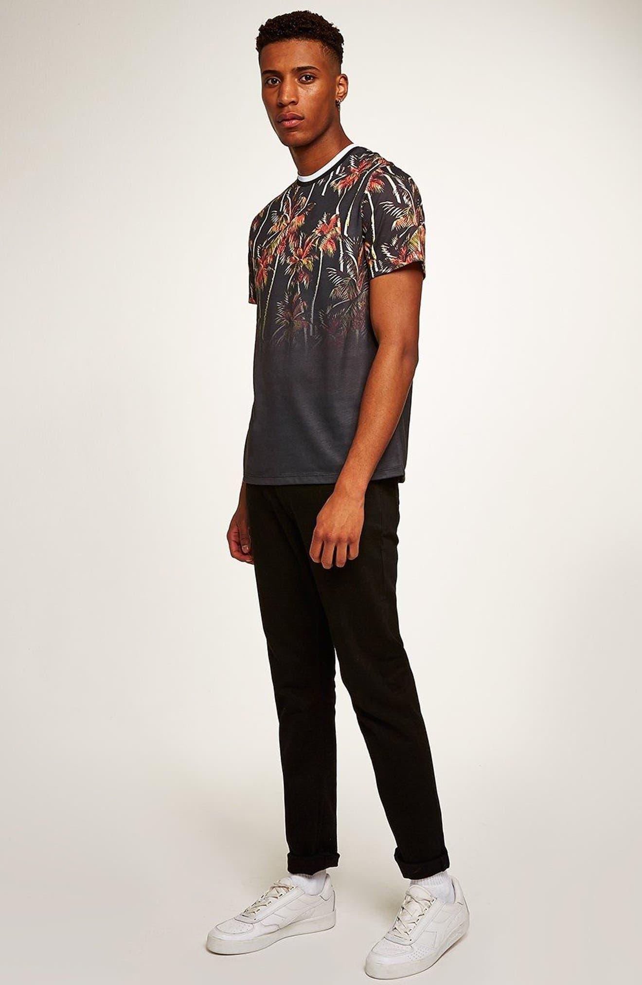 Palm Tree Print T-Shirt,                             Alternate thumbnail 5, color,                             Black Multi