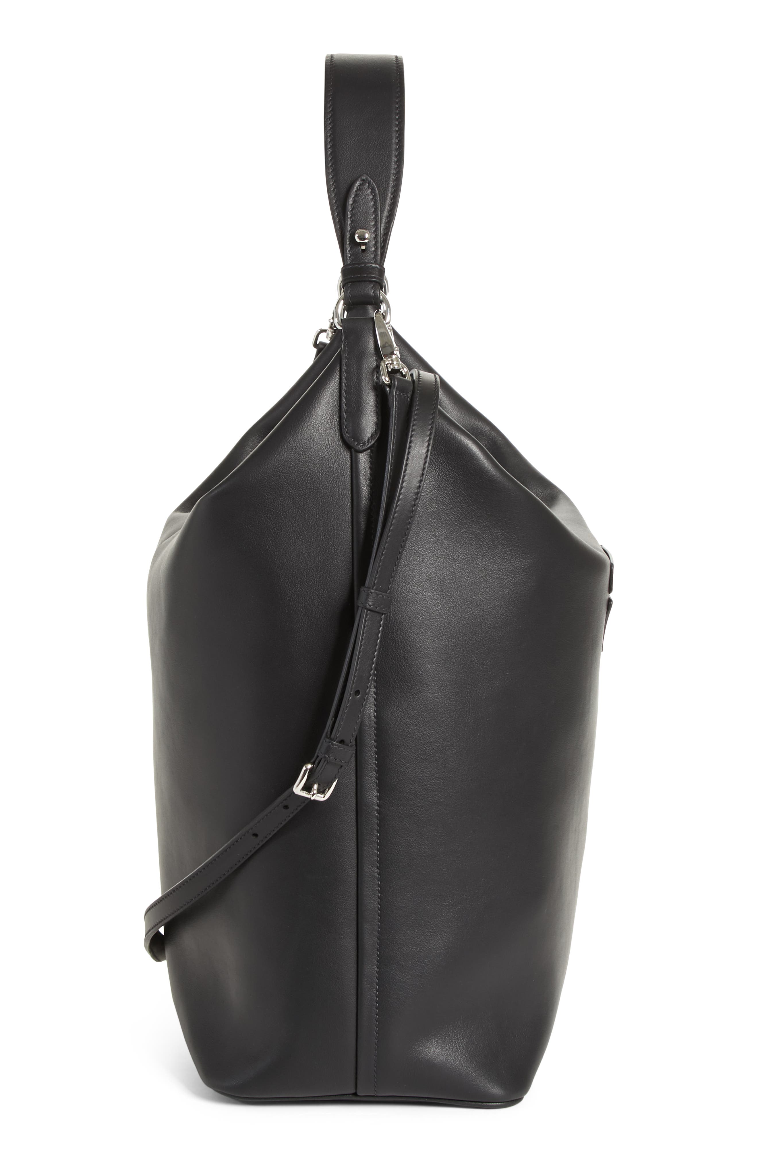 Concept Calfskin Leather Hobo,                             Alternate thumbnail 4, color,                             Nero/ Astrale