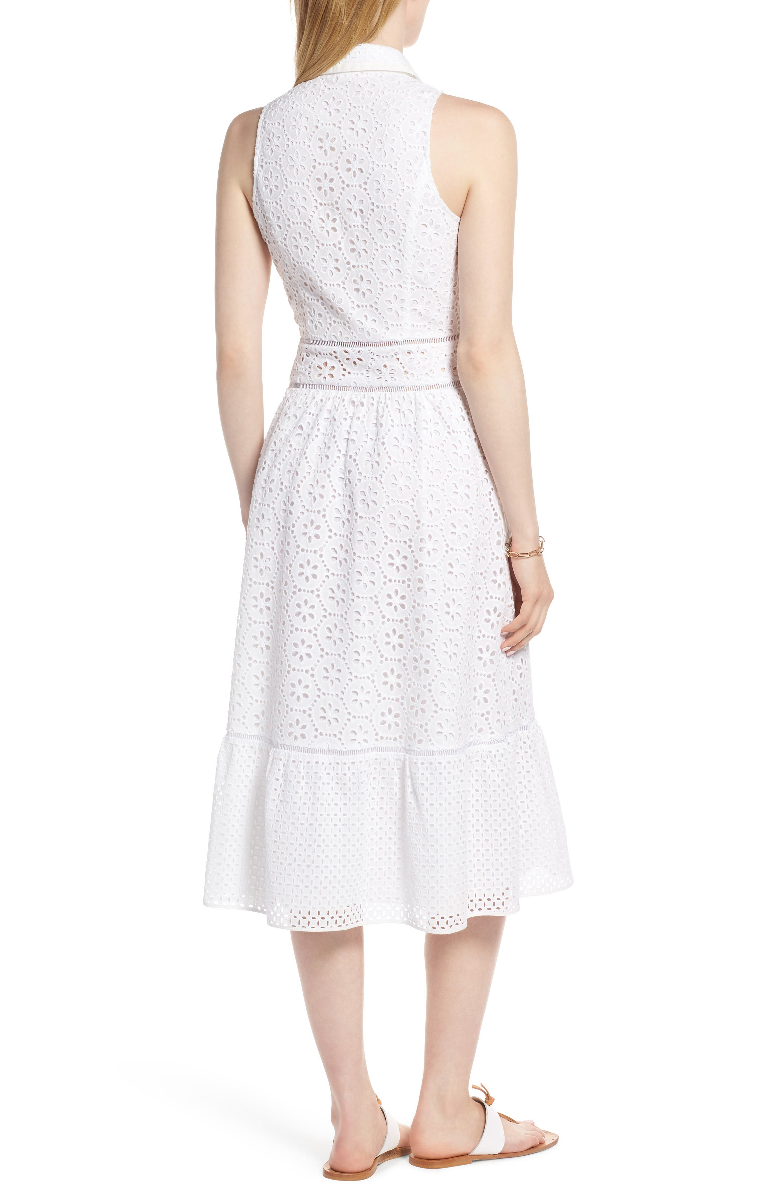 Cotton Eyelet Sleeveless Shirtdress,                             Alternate thumbnail 2, color,                             White