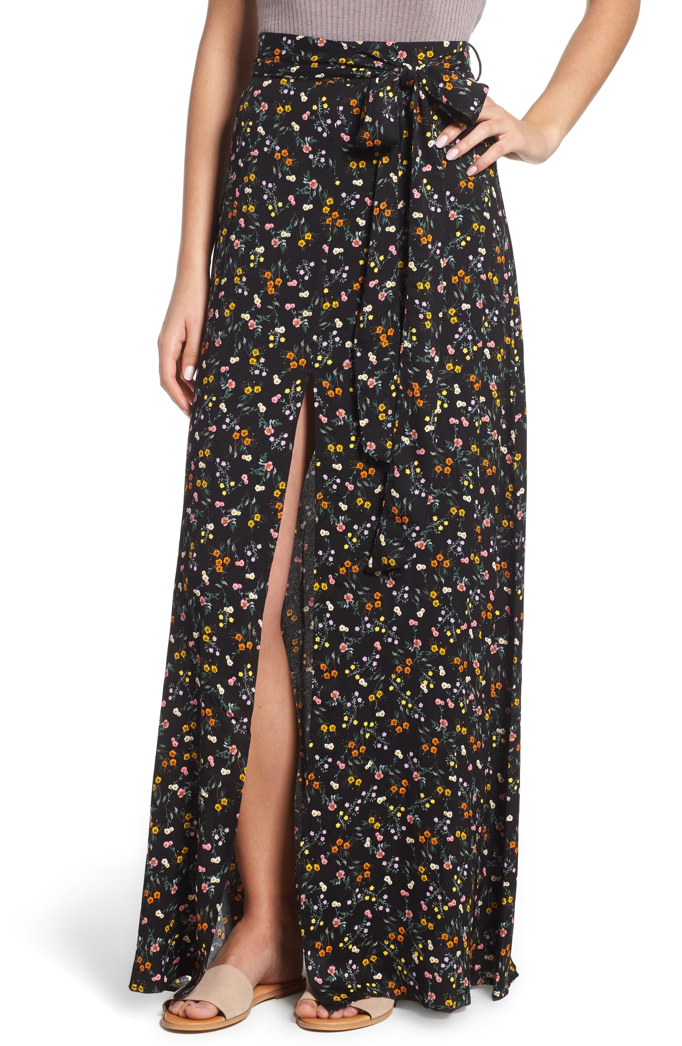 Alessandra Maxi Skirt,                         Main,                         color, Noir Petite Fleur