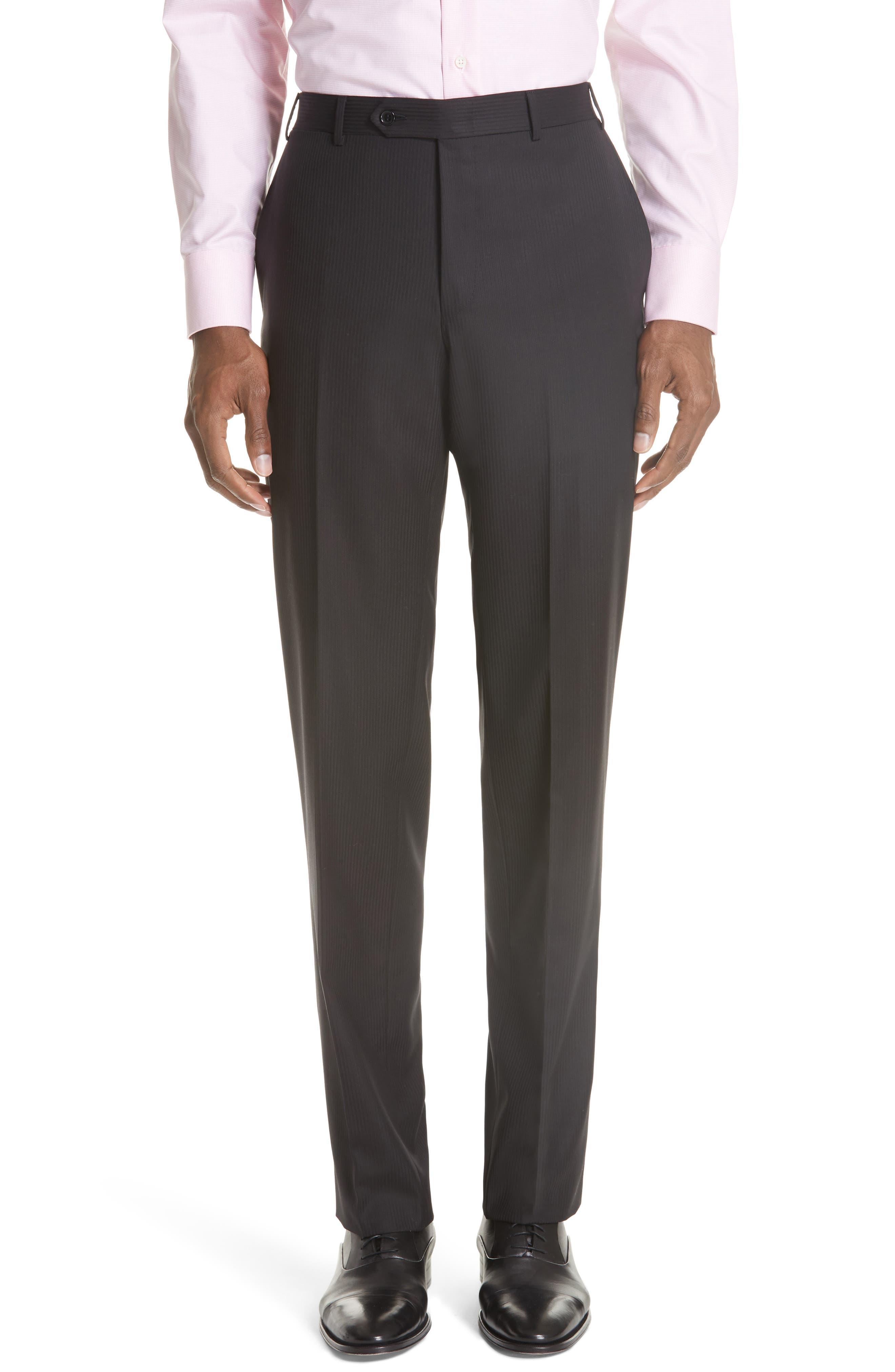 Siena Classic Fit Stripe Wool Suit,                             Alternate thumbnail 5, color,                             Black
