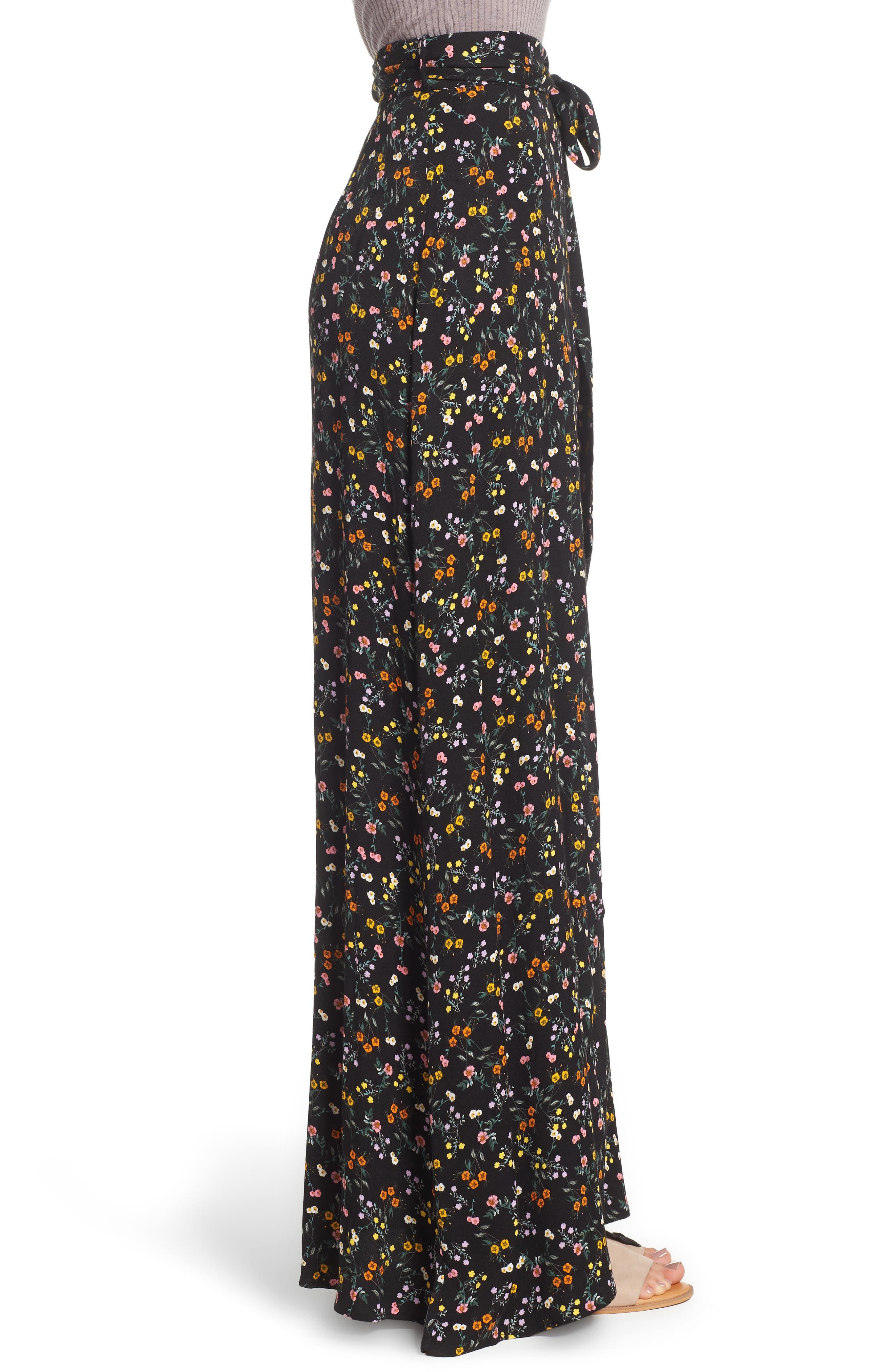Alessandra Maxi Skirt,                             Alternate thumbnail 3, color,                             Noir Petite Fleur