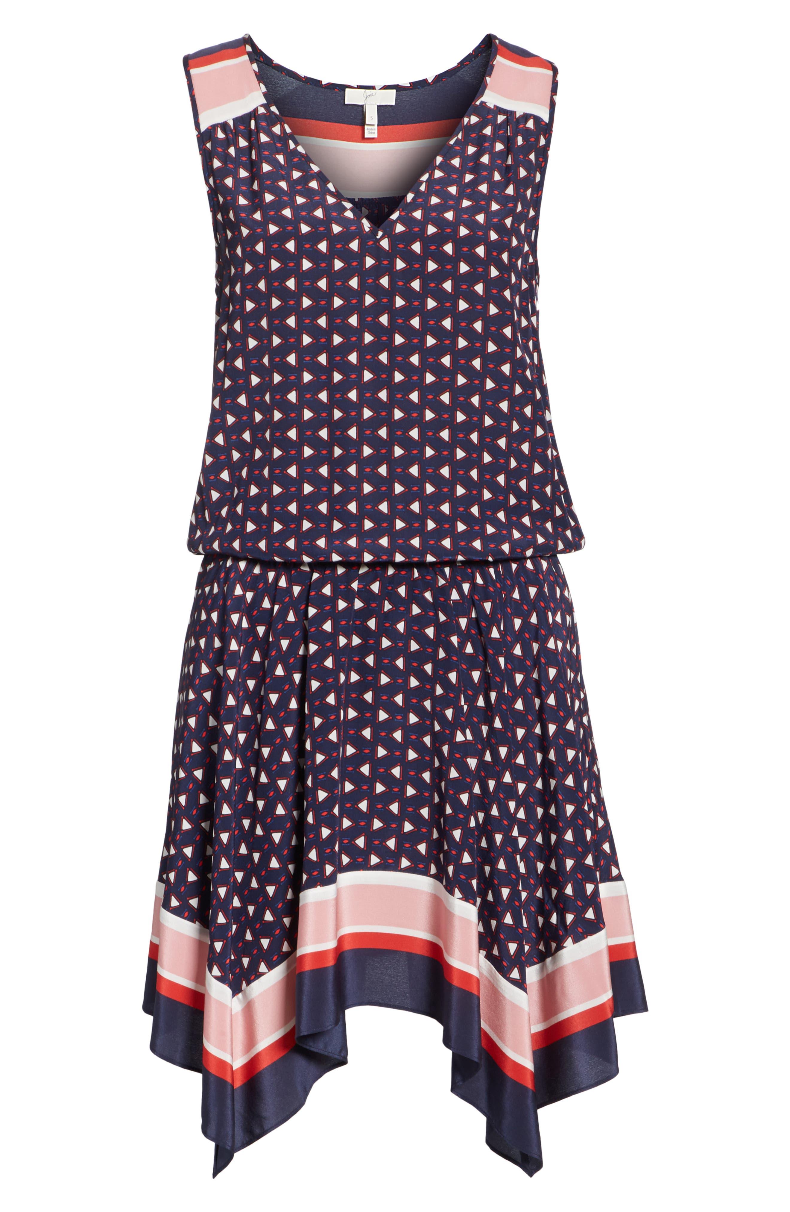 Ginabel Silk Handkerchief Dress,                             Alternate thumbnail 6, color,                             Dark Navy