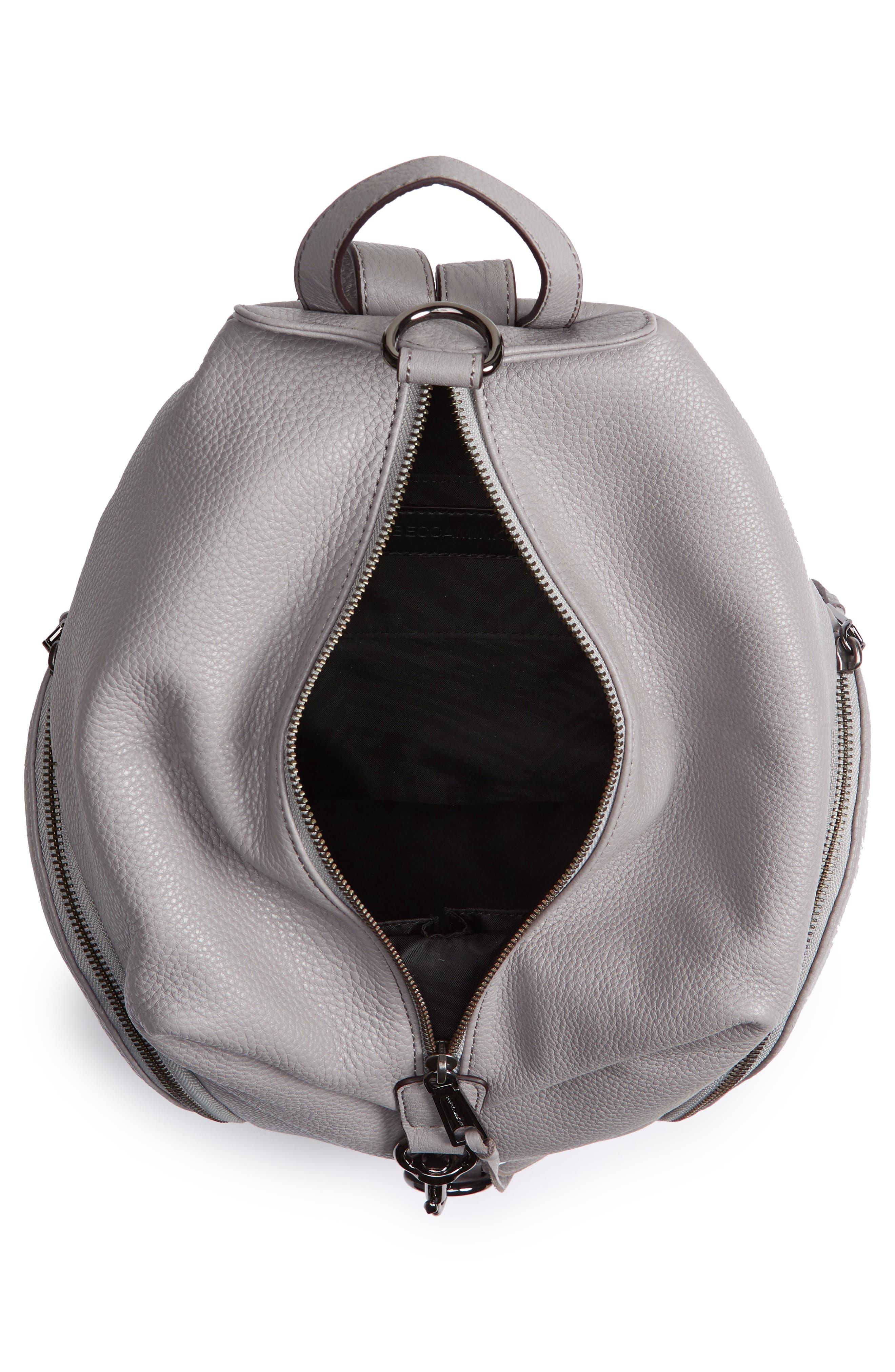 Julian Pebbled Leather Backpack,                             Alternate thumbnail 4, color,                             Grey