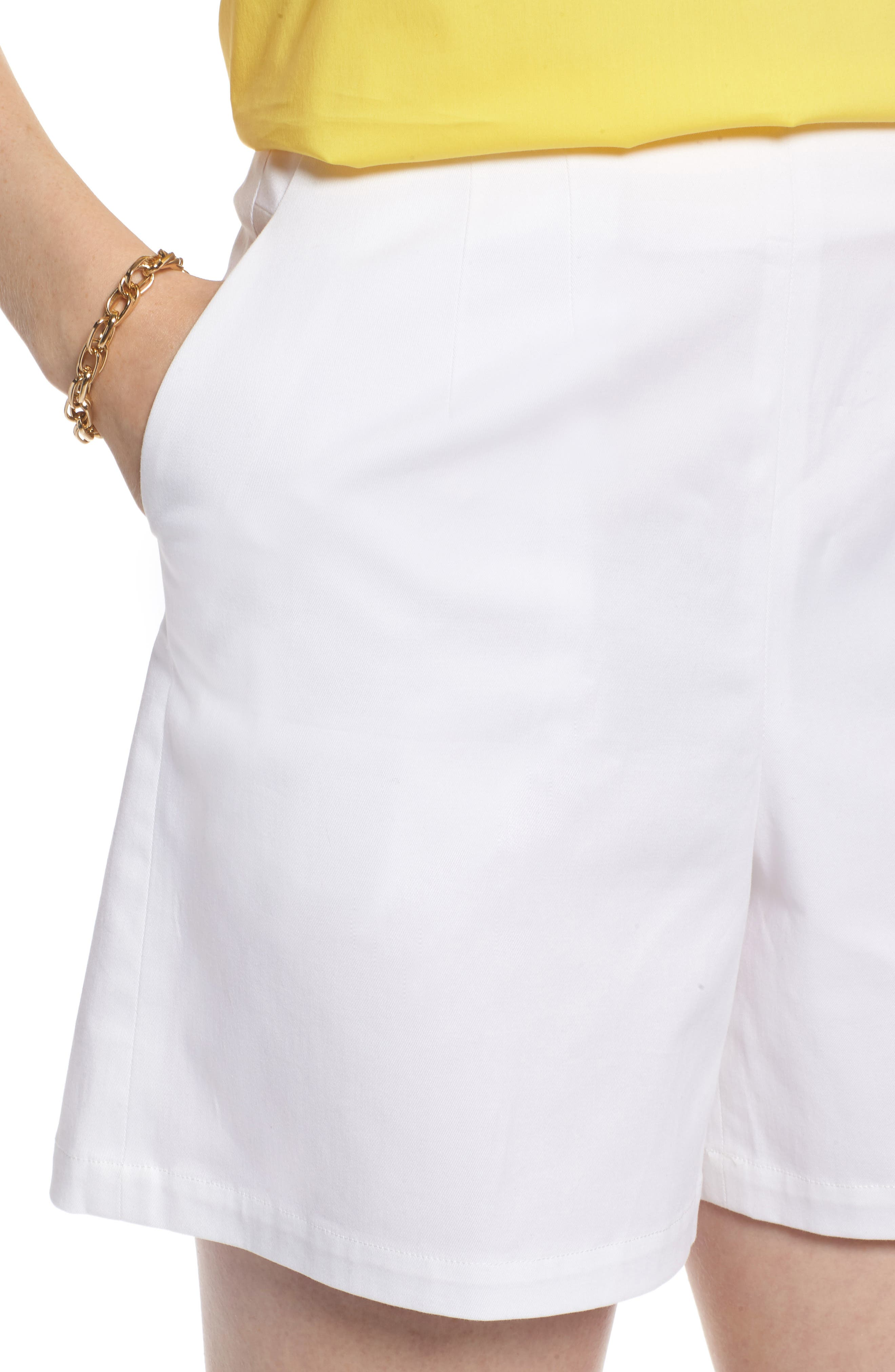 Clean Twill Shorts,                             Alternate thumbnail 3, color,                             White