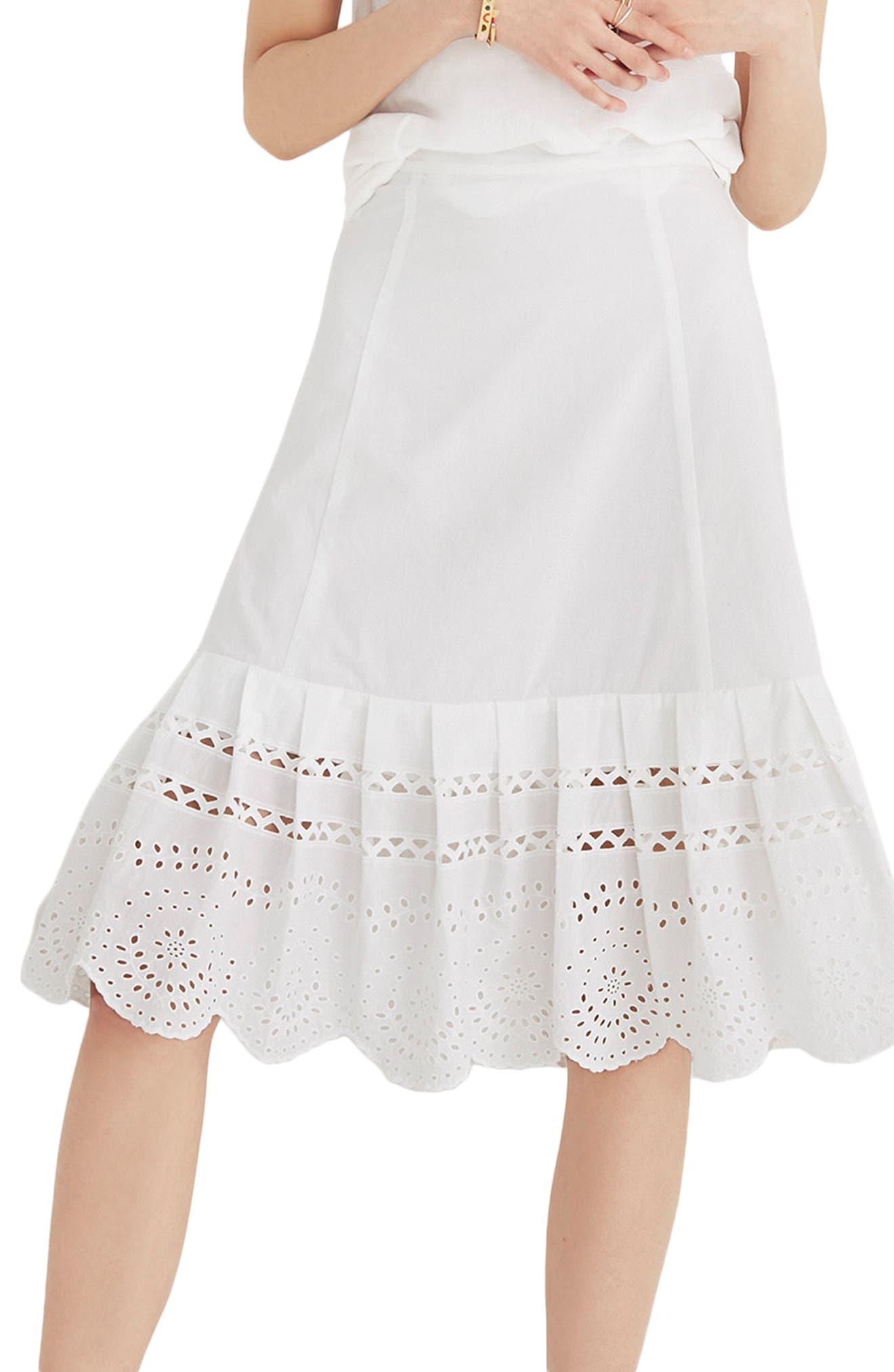 Eyelet Midi Skirt,                         Main,                         color, Eyelet White