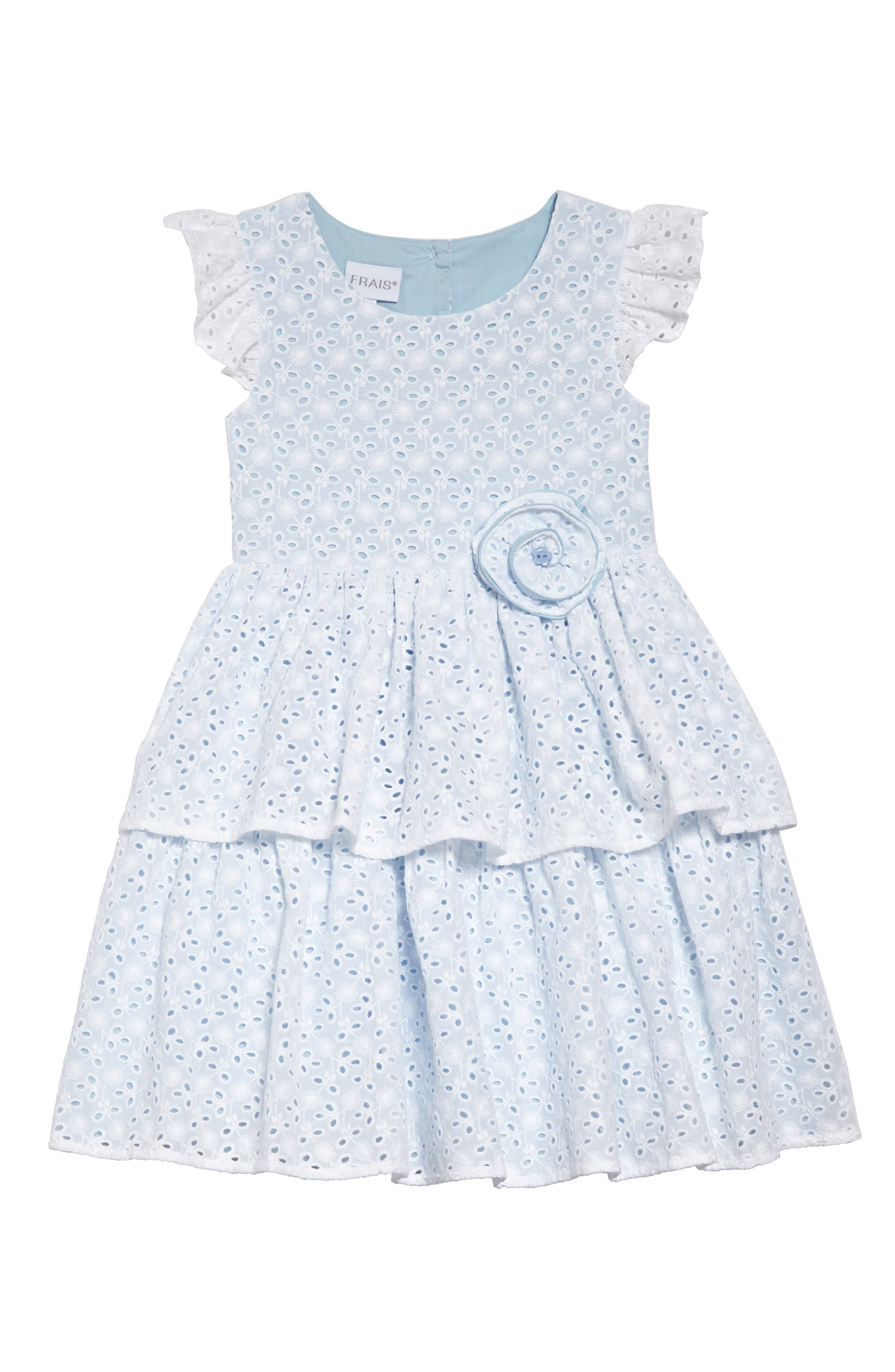 Flutter Sleeve Tiered Eyelet Dress,                             Main thumbnail 1, color,                             White