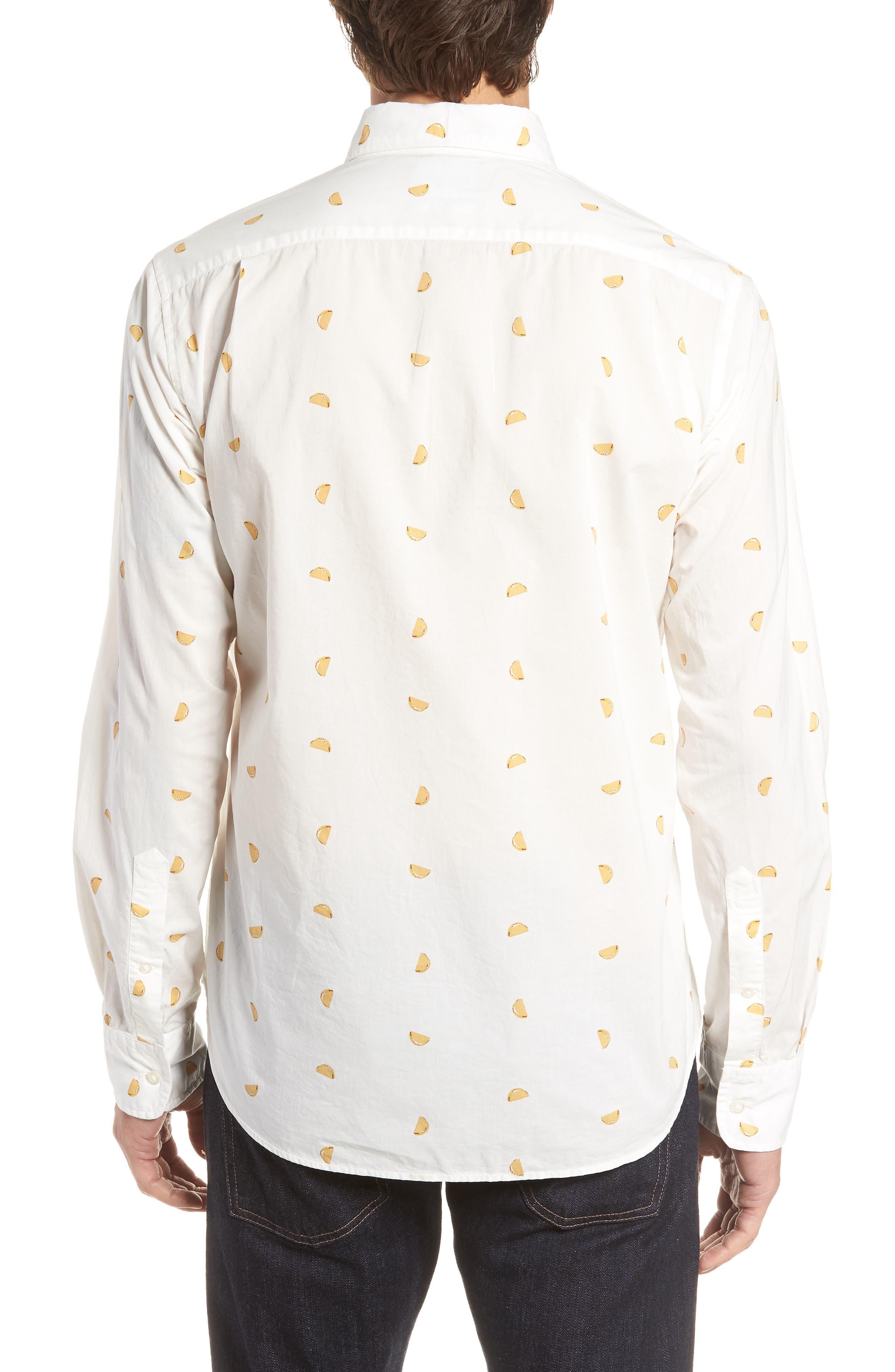 Summerweight Slim Fit Taco Print Sport Shirt,                             Alternate thumbnail 3, color,                             Taco Toss - Golden Lotus