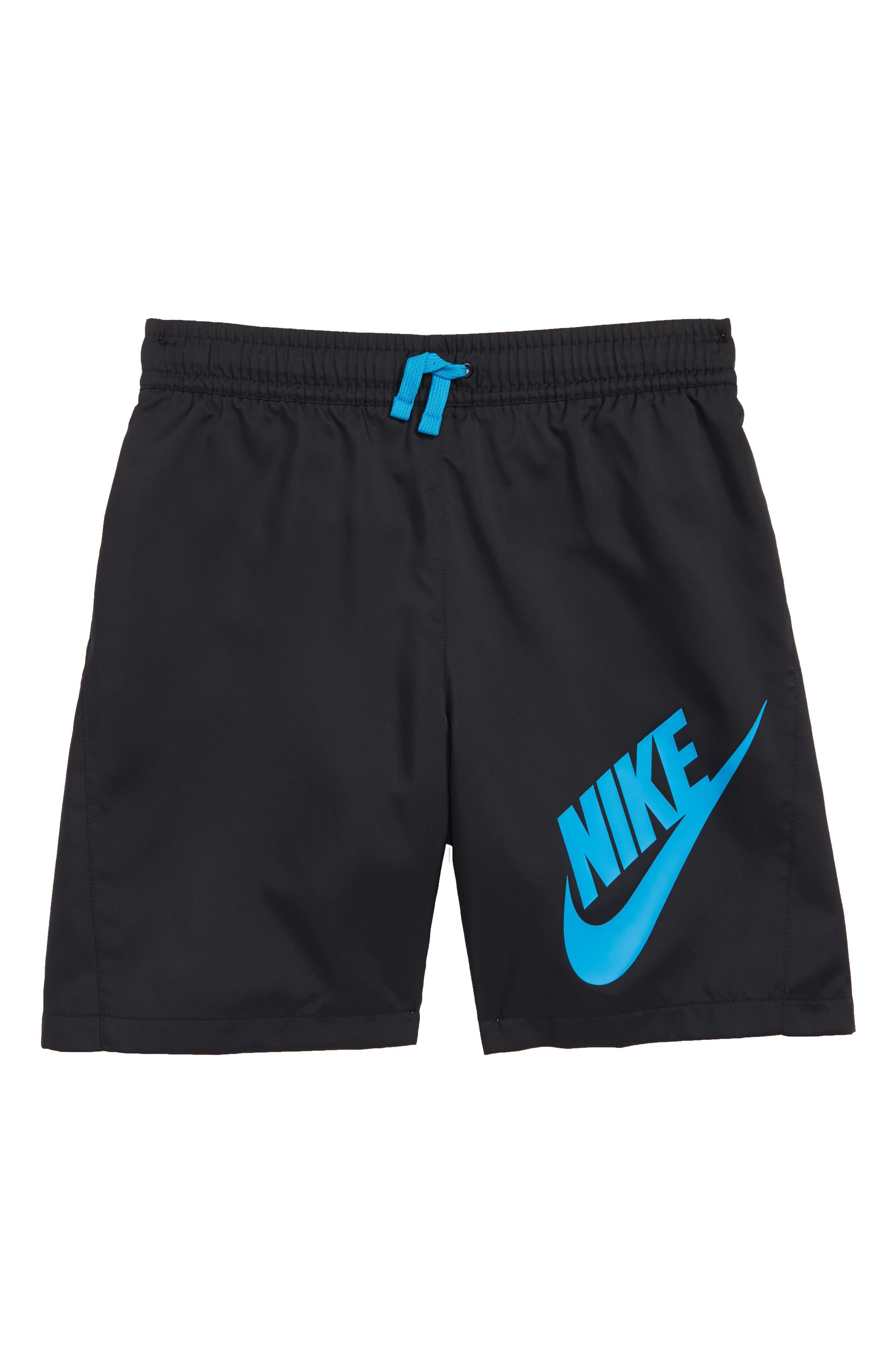 Woven Shorts,                         Main,                         color, Black/ Equator Blue