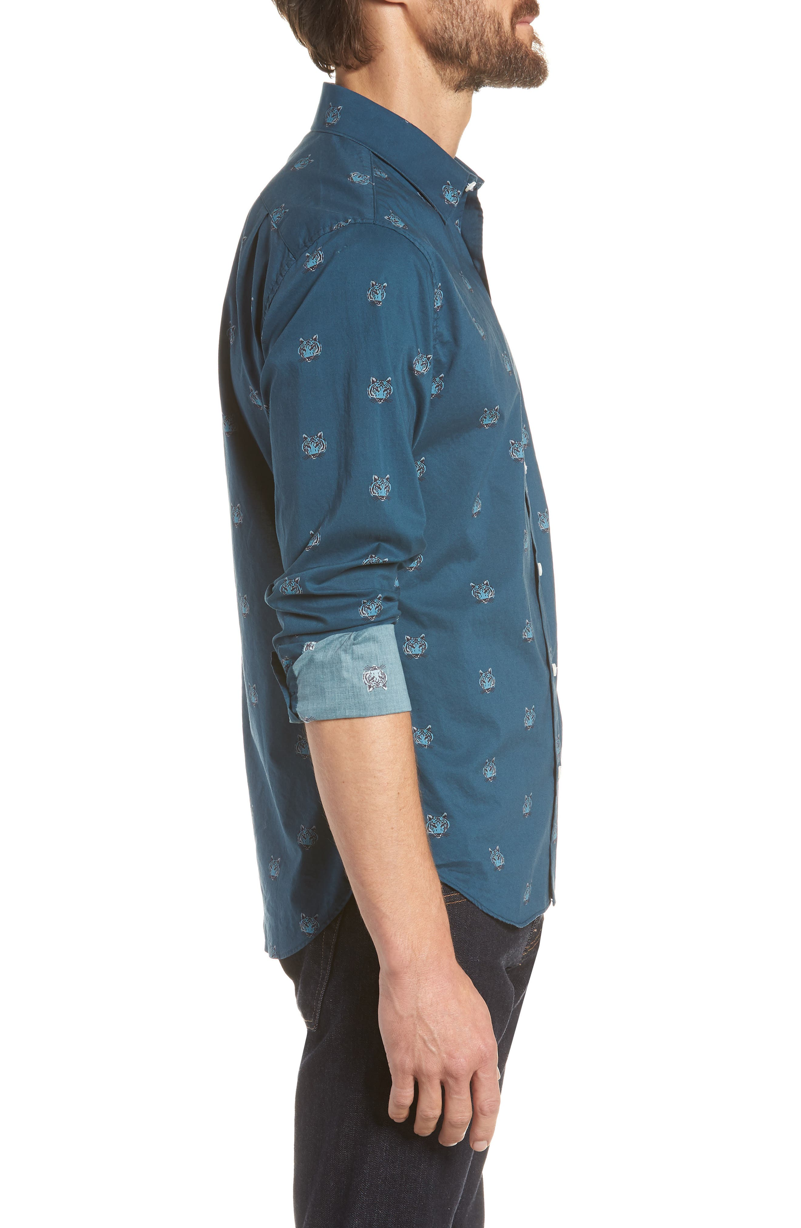 Unbutton Down Slim Fit Tiger Sport Shirt,                             Alternate thumbnail 4, color,                             Tiger Head - Viridien
